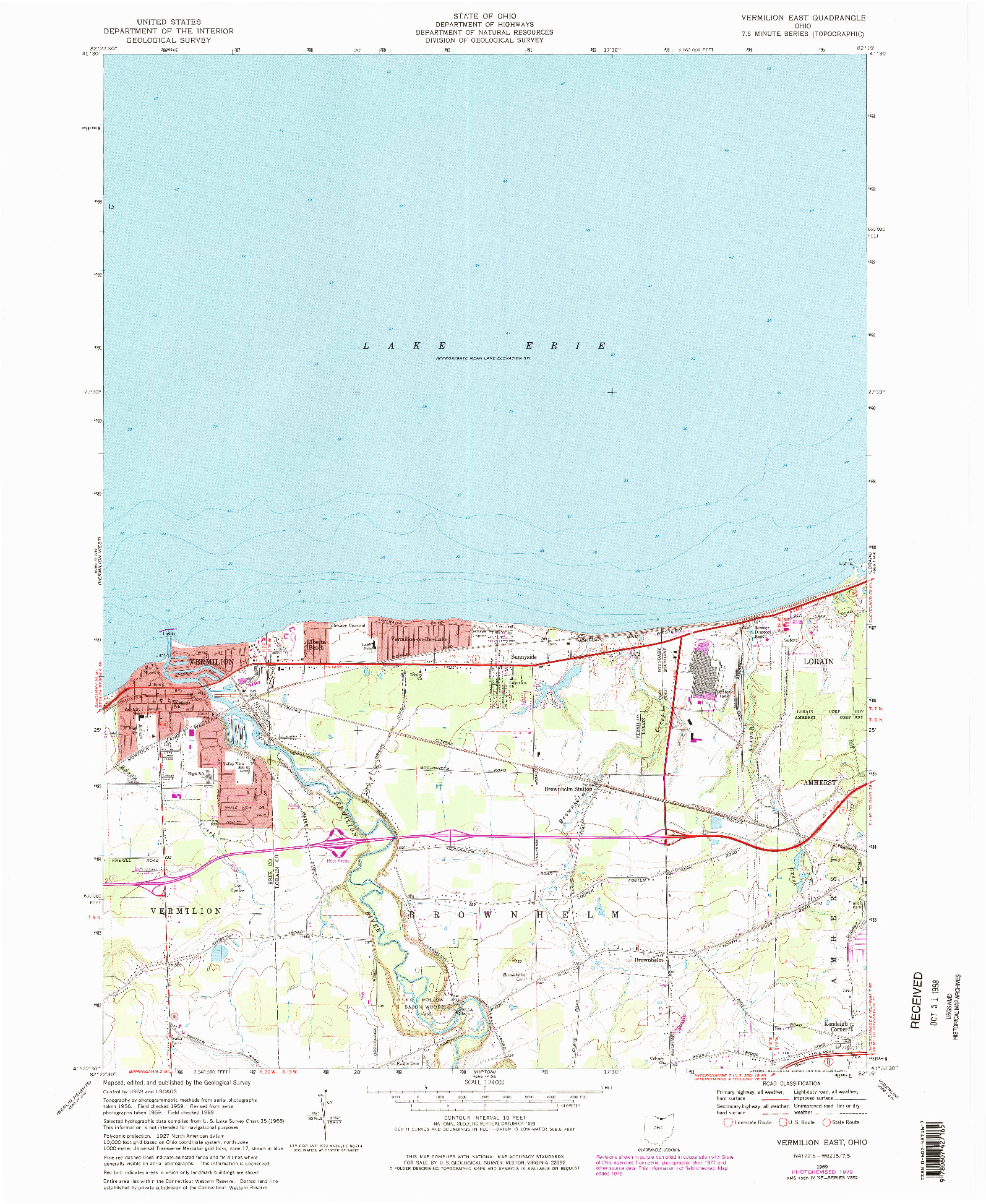 USGS 1:24000-SCALE QUADRANGLE FOR VERMILION EAST, OH 1969