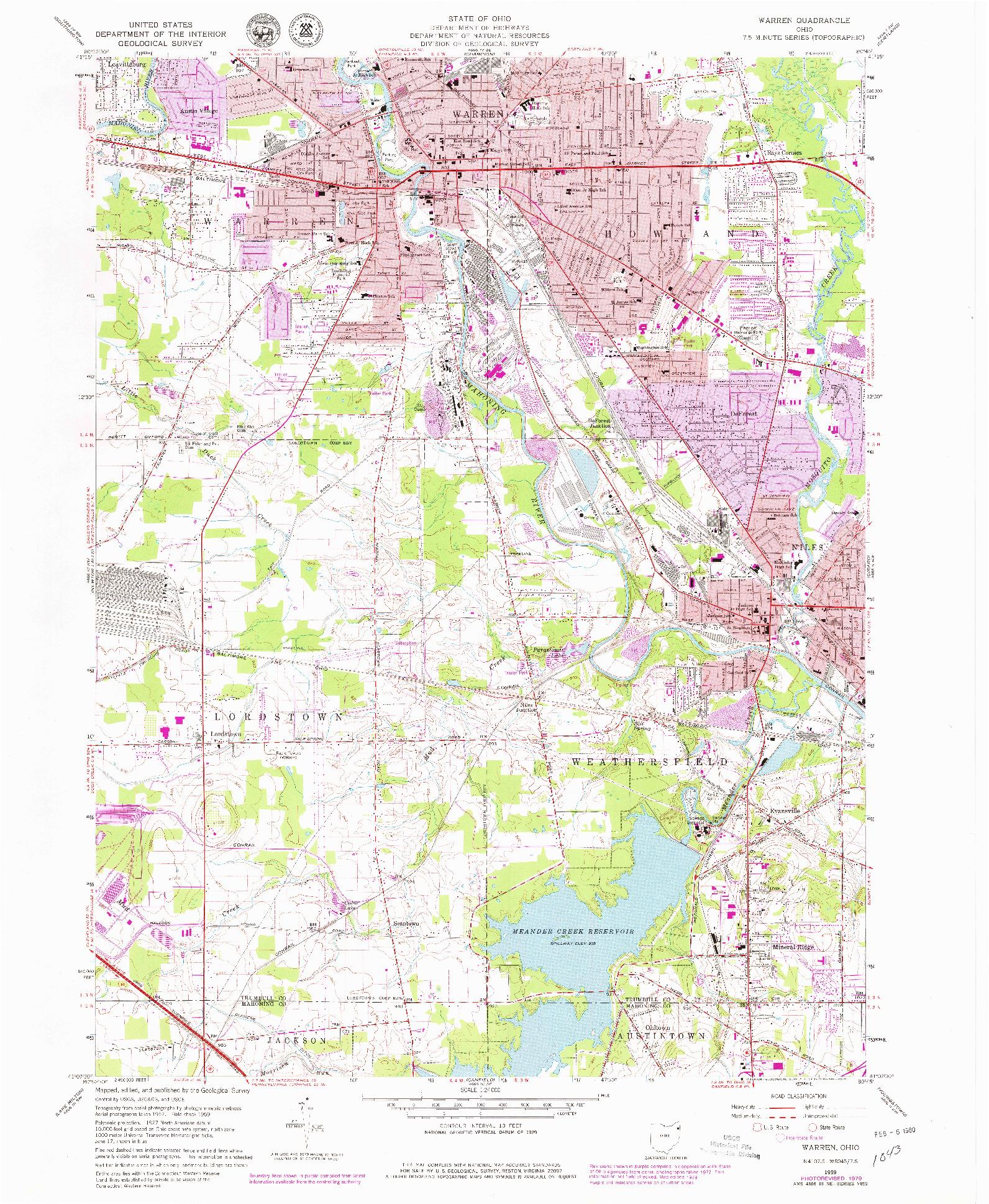 USGS 1:24000-SCALE QUADRANGLE FOR WARREN, OH 1959