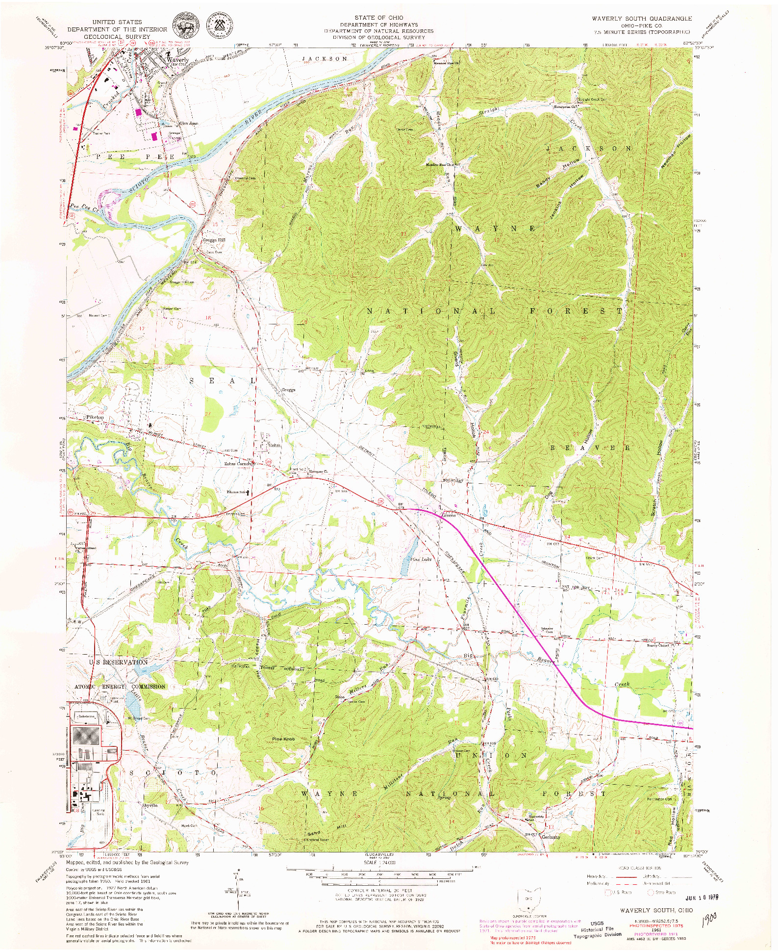 USGS 1:24000-SCALE QUADRANGLE FOR WAVERLY SOUTH, OH 1961