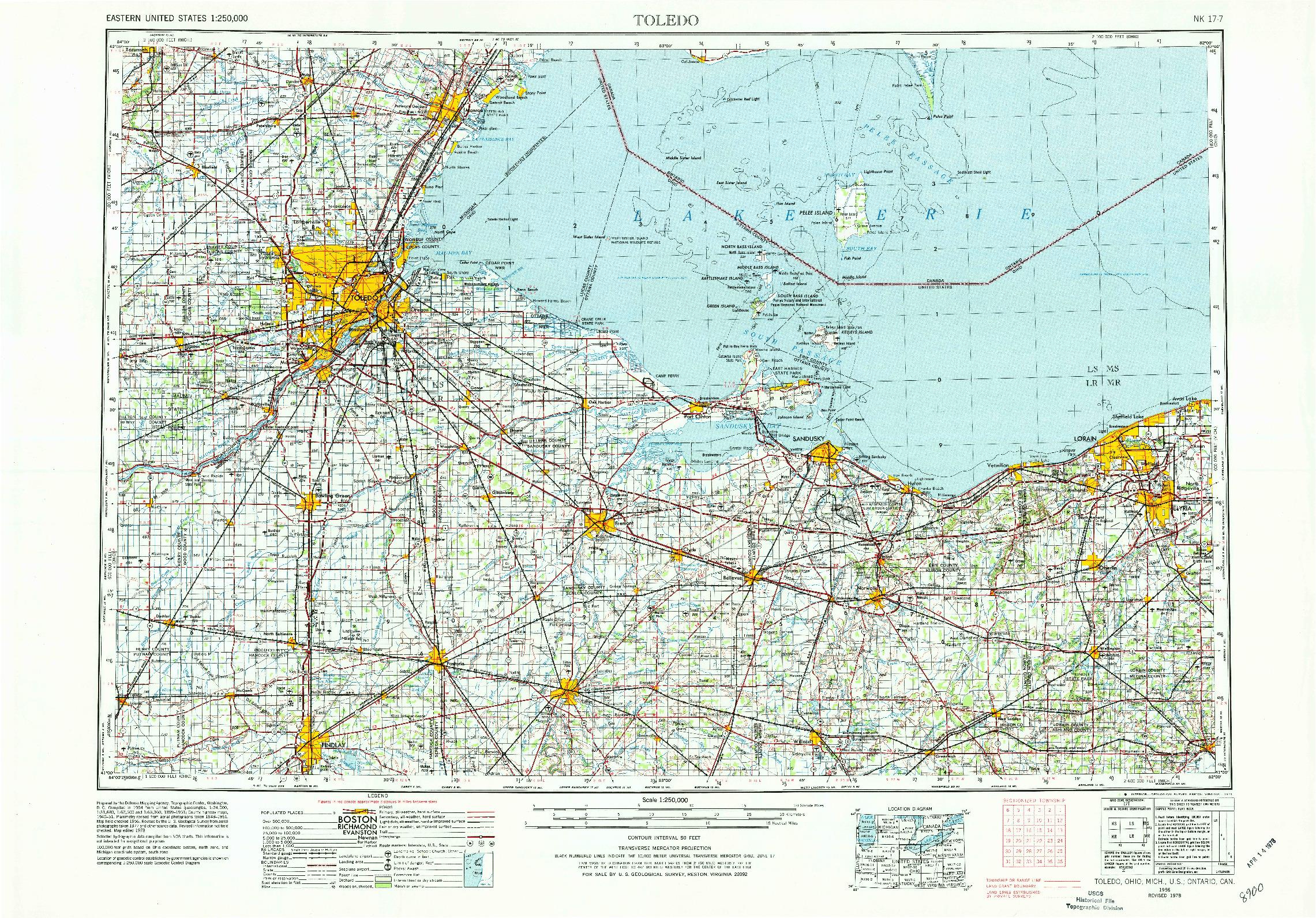USGS 1:250000-SCALE QUADRANGLE FOR TOLEDO, OH 1956