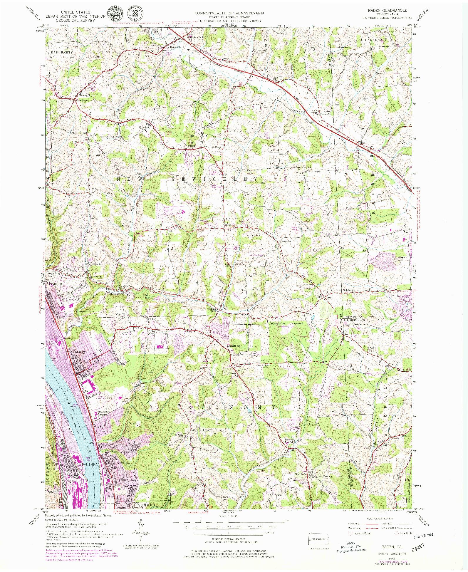 USGS 1:24000-SCALE QUADRANGLE FOR BADEN, PA 1953