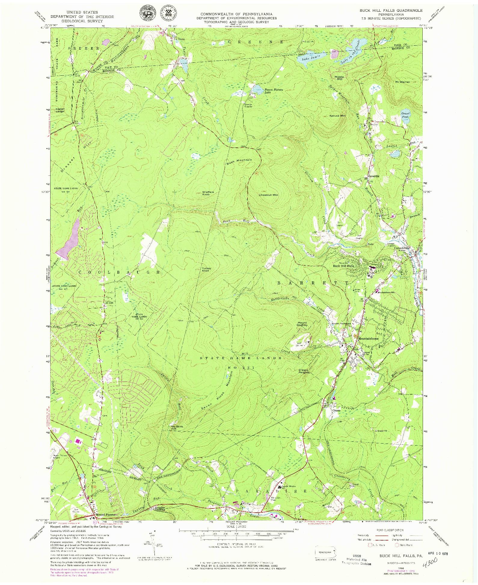 USGS 1:24000-SCALE QUADRANGLE FOR BUCK HILL FALLS, PA 1966