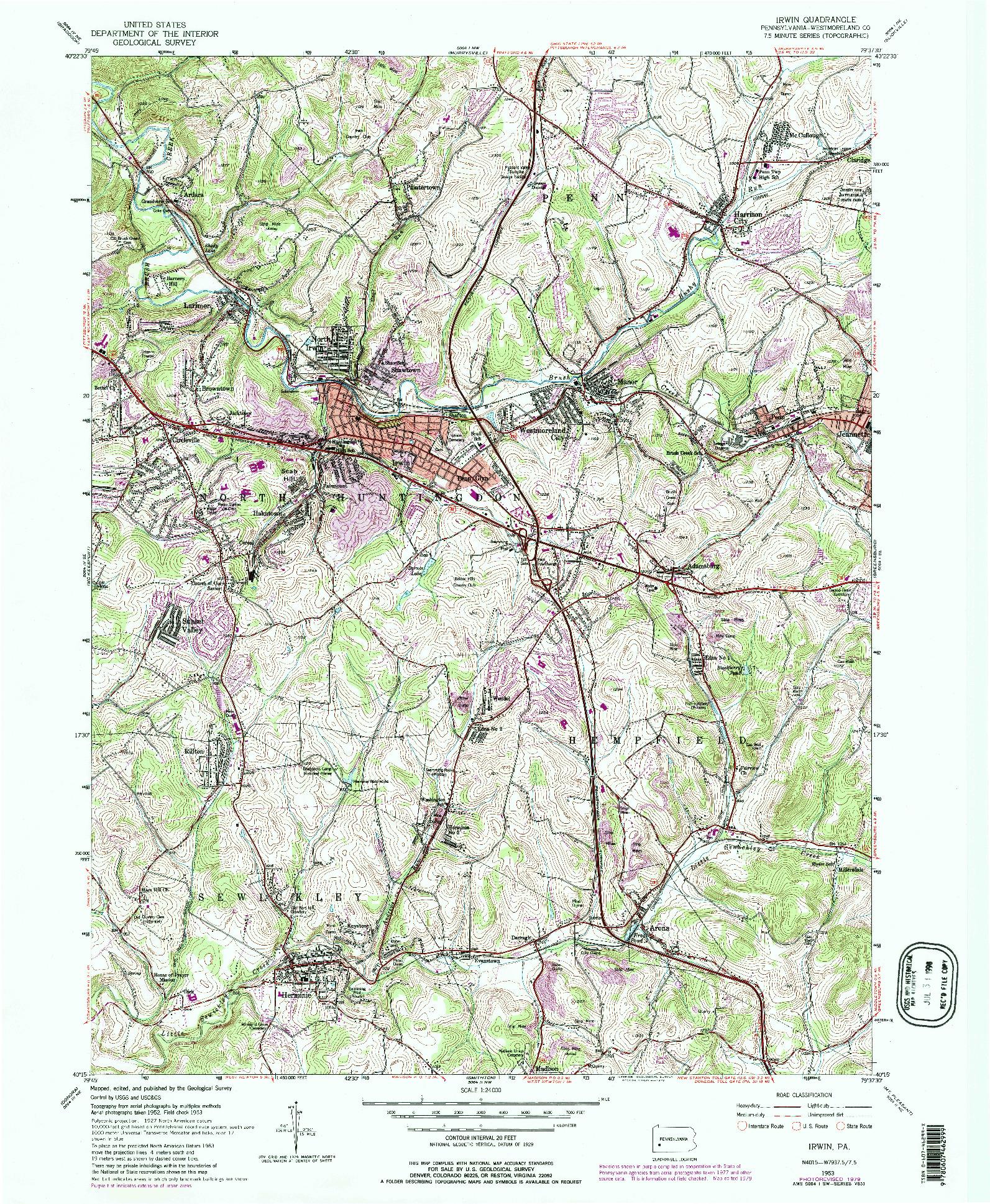 USGS 1:24000-SCALE QUADRANGLE FOR IRWIN, PA 1953