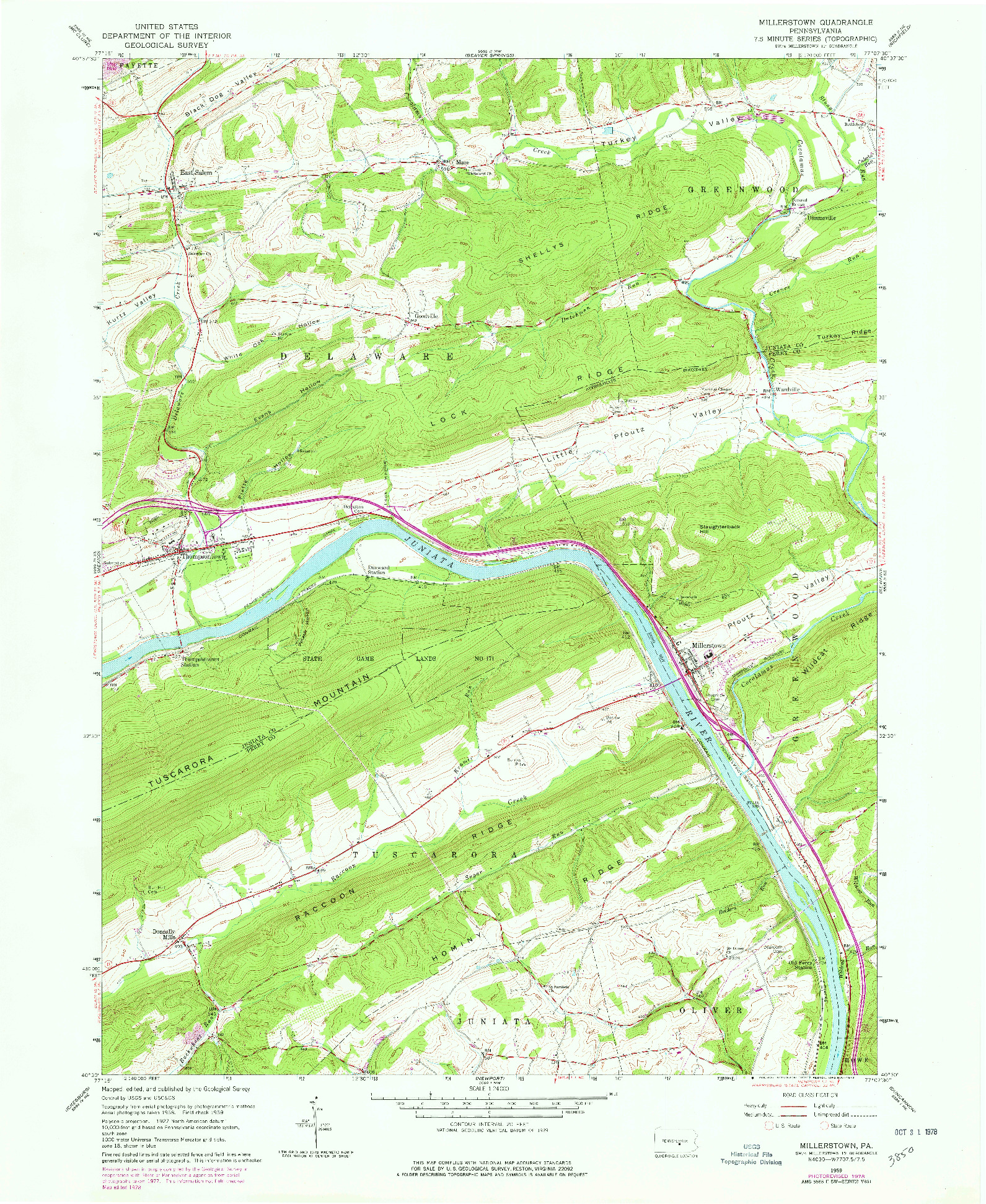USGS 1:24000-SCALE QUADRANGLE FOR MILLERSTOWN, PA 1959