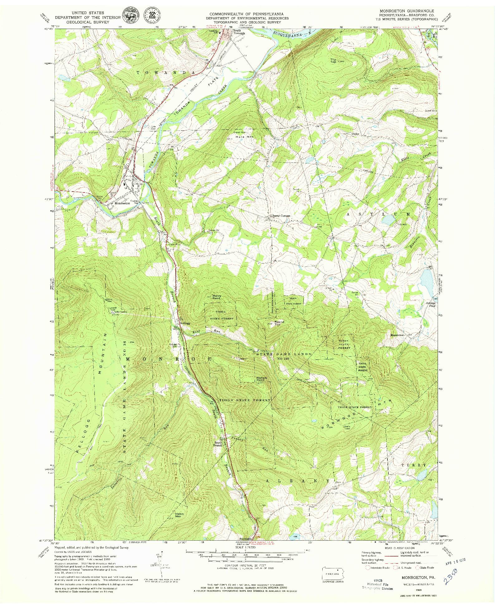 USGS 1:24000-SCALE QUADRANGLE FOR MONROETON, PA 1969