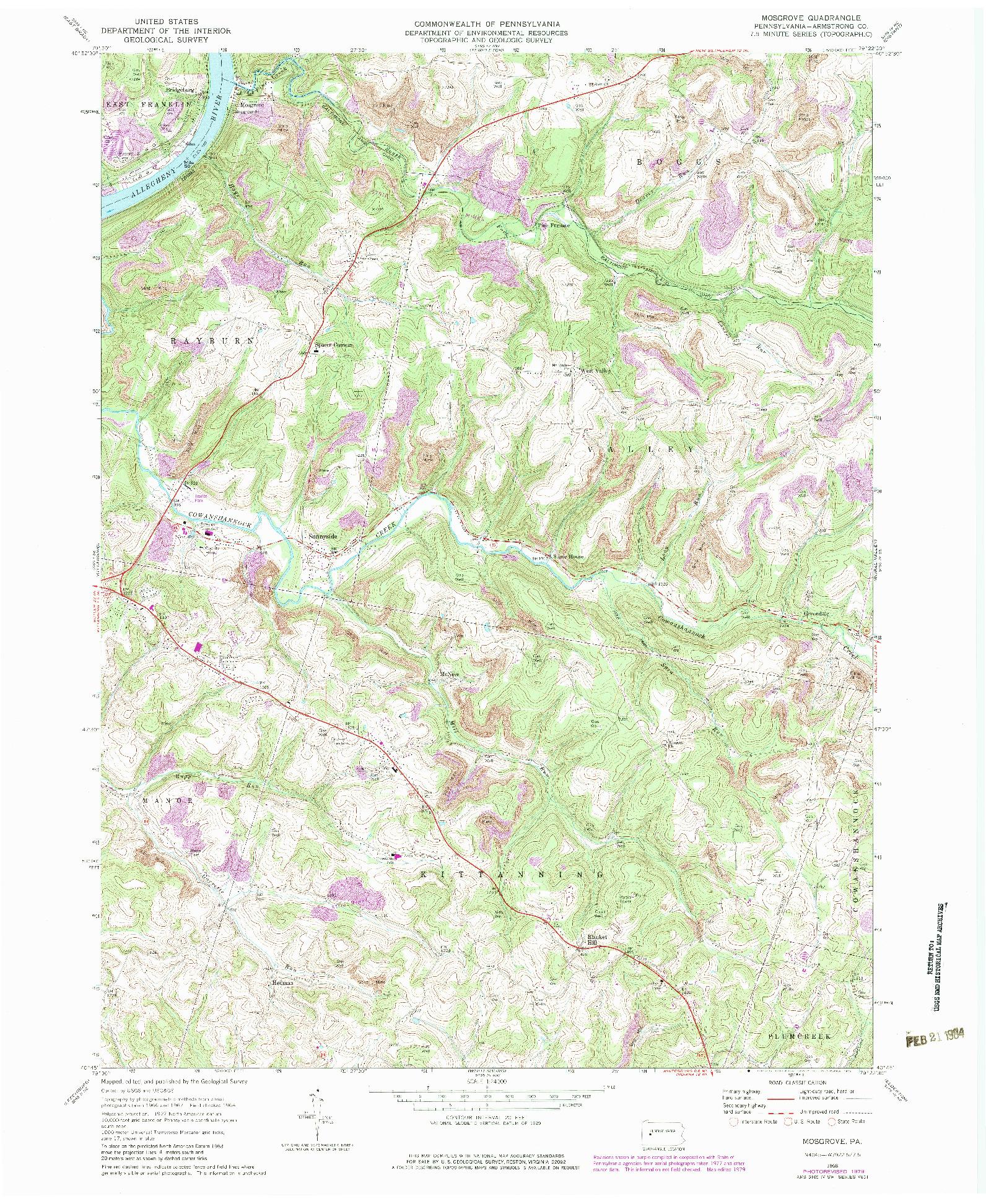 USGS 1:24000-SCALE QUADRANGLE FOR MOSGROVE, PA 1968