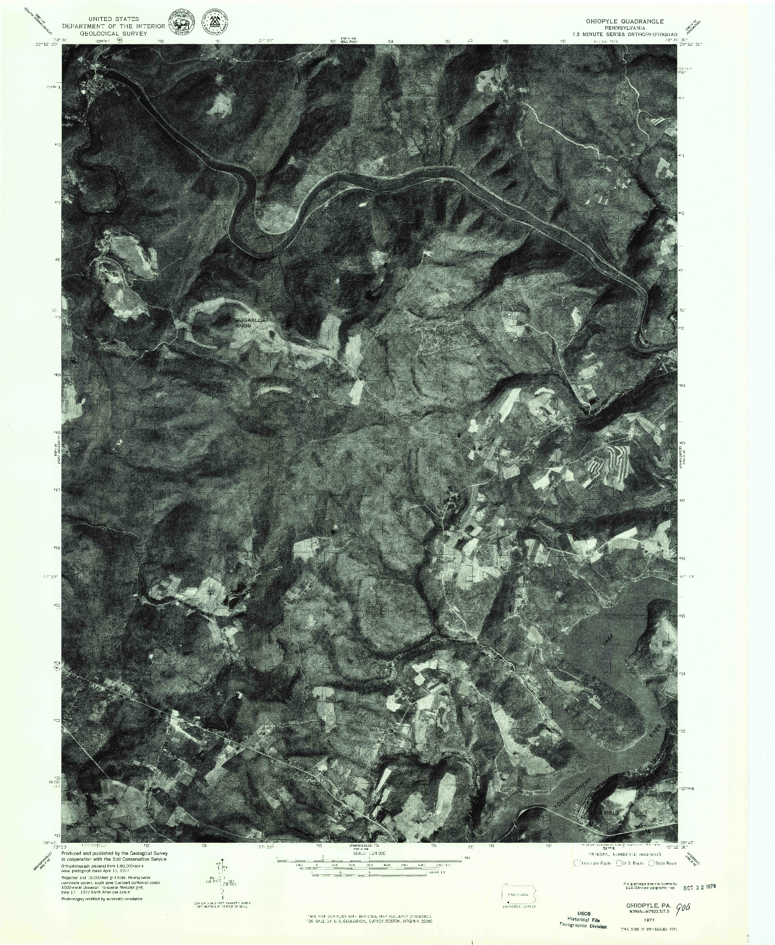 USGS 1:24000-SCALE QUADRANGLE FOR OHIOPYLE, PA 1977