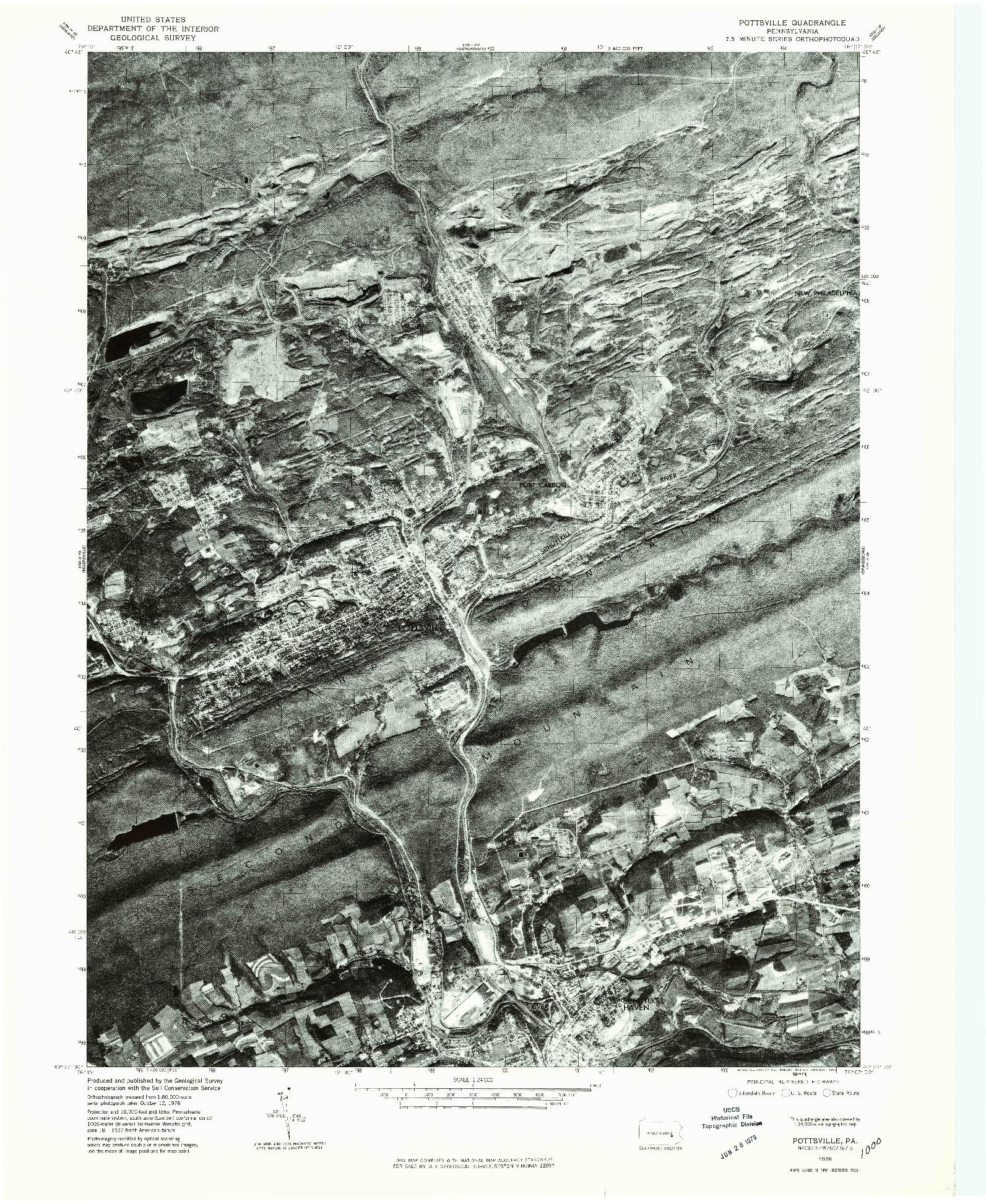 USGS 1:24000-SCALE QUADRANGLE FOR POTTSVILLE, PA 1976