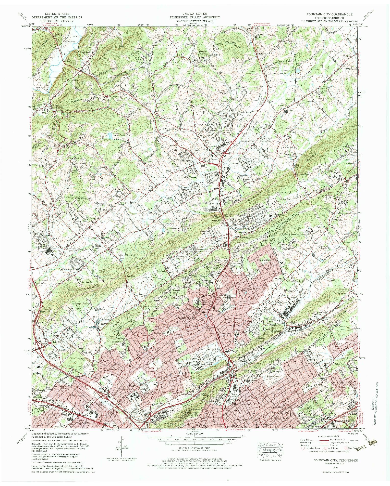 USGS 1:24000-SCALE QUADRANGLE FOR FOUNTAIN CITY, TN 1978