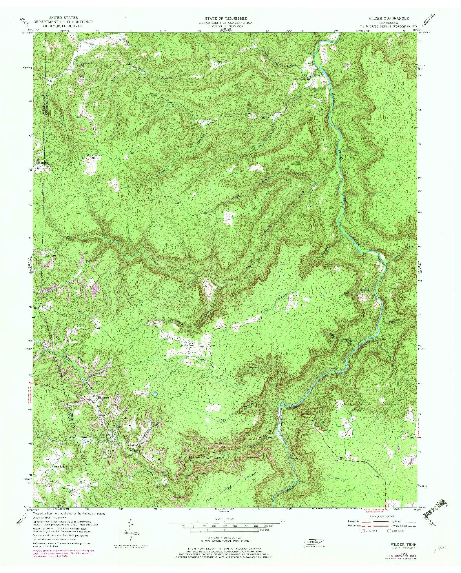 USGS 1:24000-SCALE QUADRANGLE FOR WILDER, TN 1955