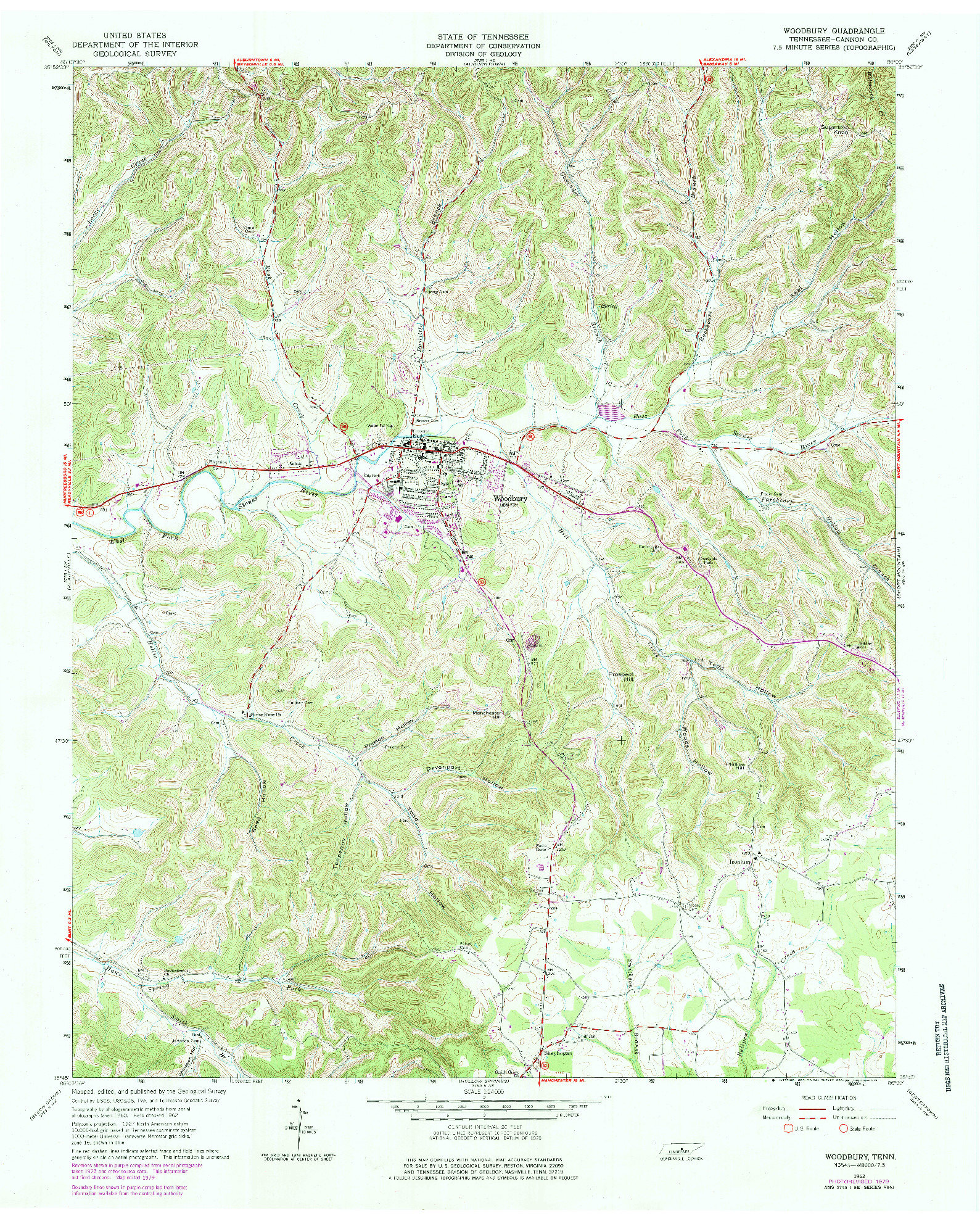 USGS 1:24000-SCALE QUADRANGLE FOR WOODBURY, TN 1962