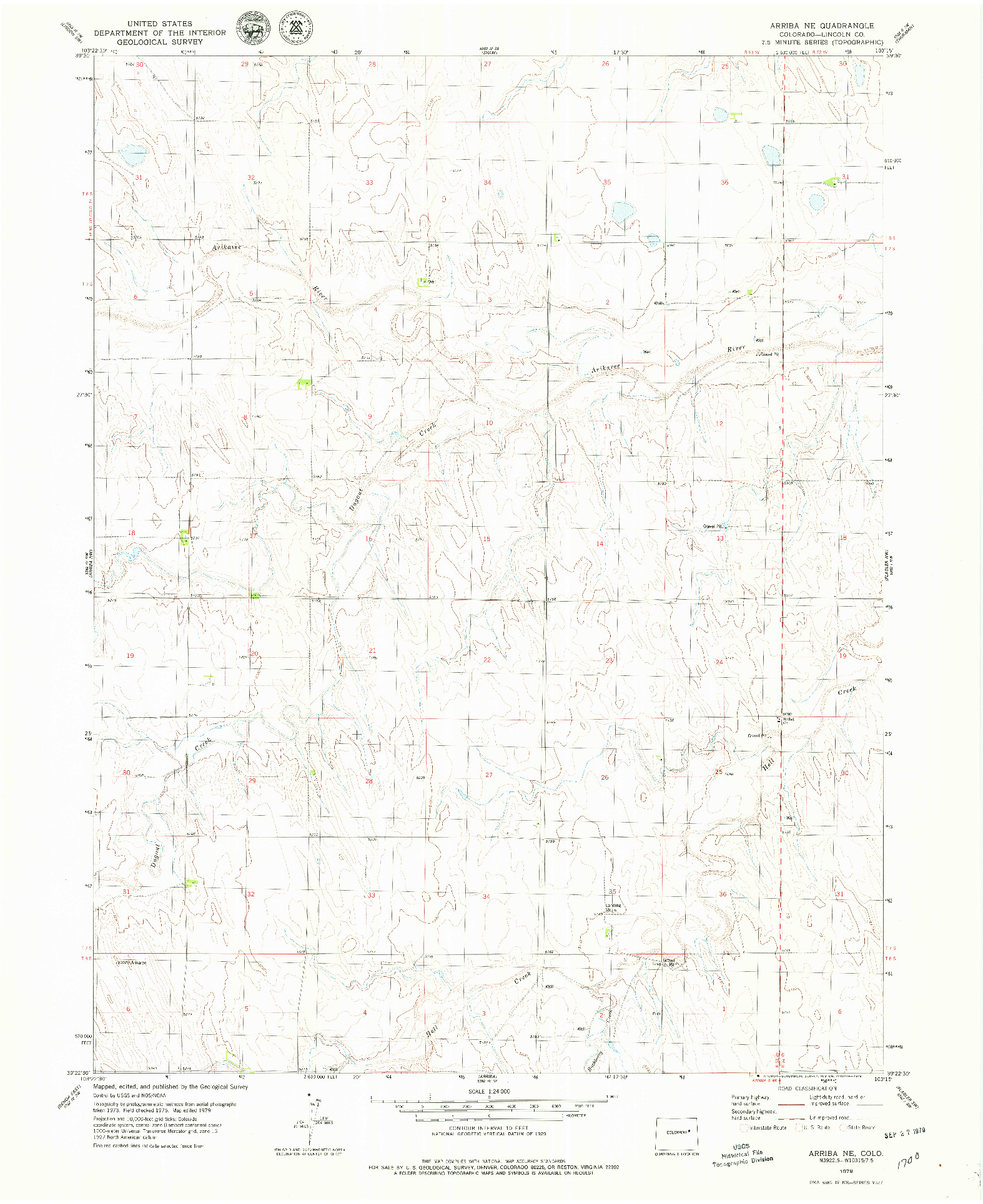USGS 1:24000-SCALE QUADRANGLE FOR ARRIBA NE, CO 1979