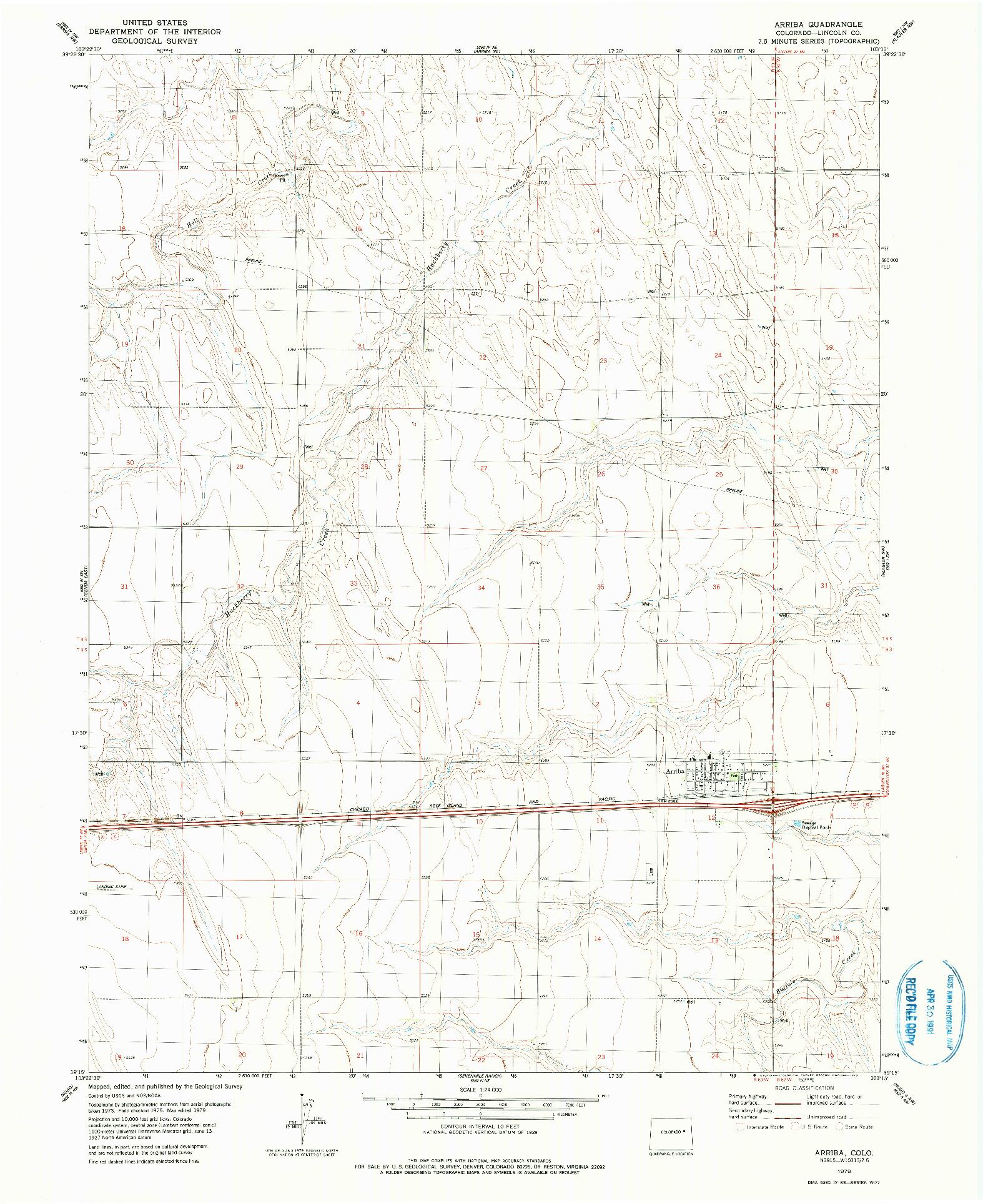 USGS 1:24000-SCALE QUADRANGLE FOR ARRIBA, CO 1979