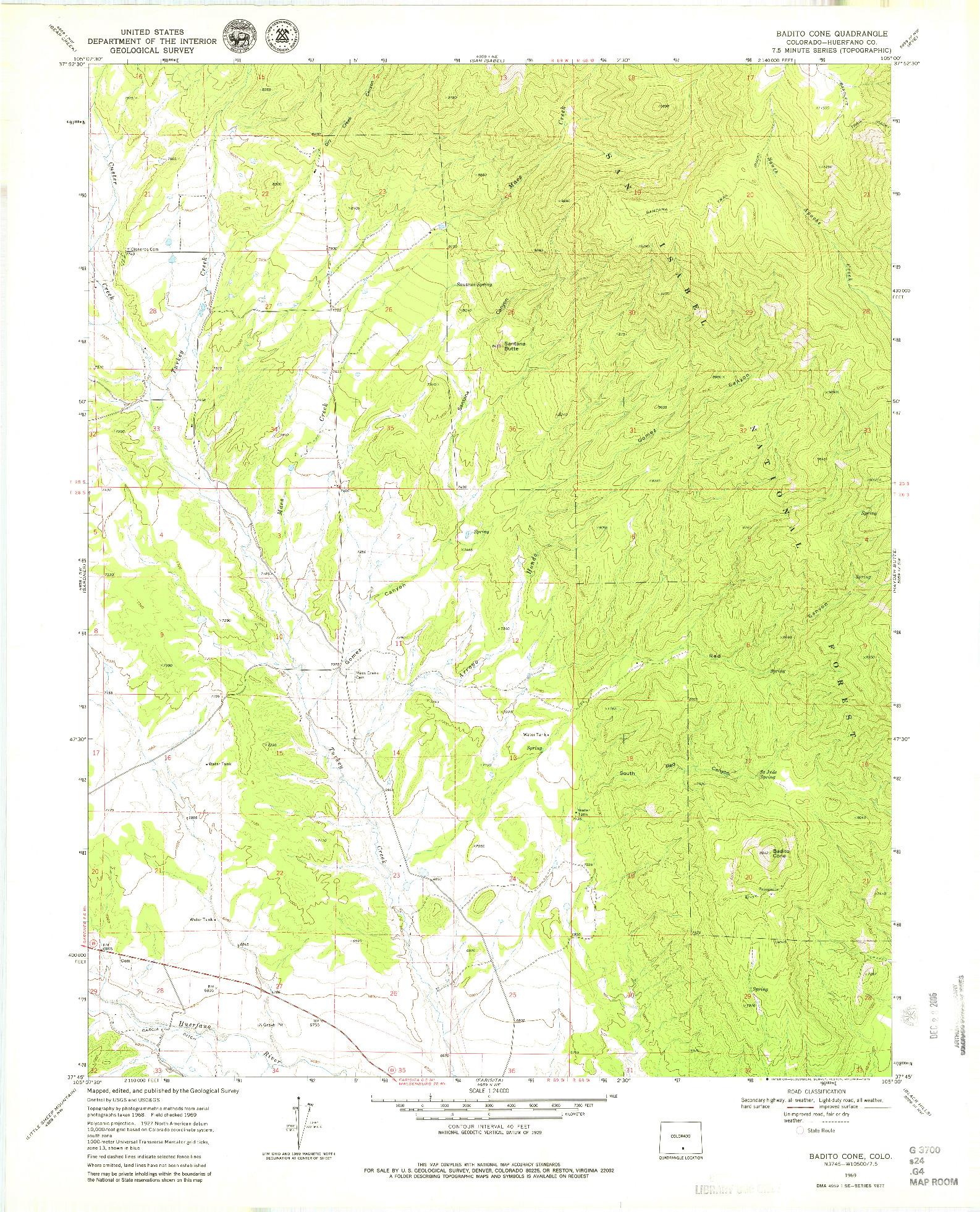 USGS 1:24000-SCALE QUADRANGLE FOR BADITO CONE, CO 1969