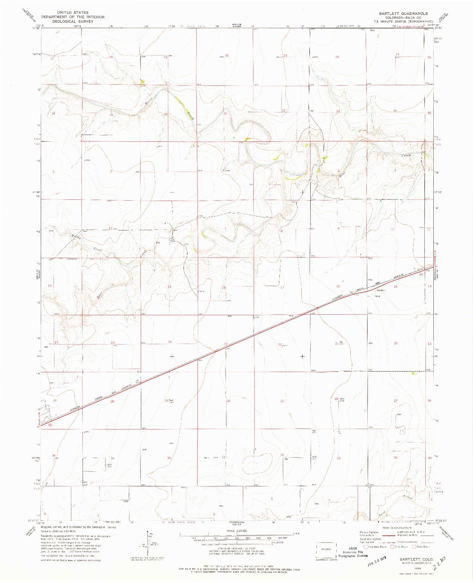 USGS 1:24000-SCALE QUADRANGLE FOR BARTLETT, CO 1978