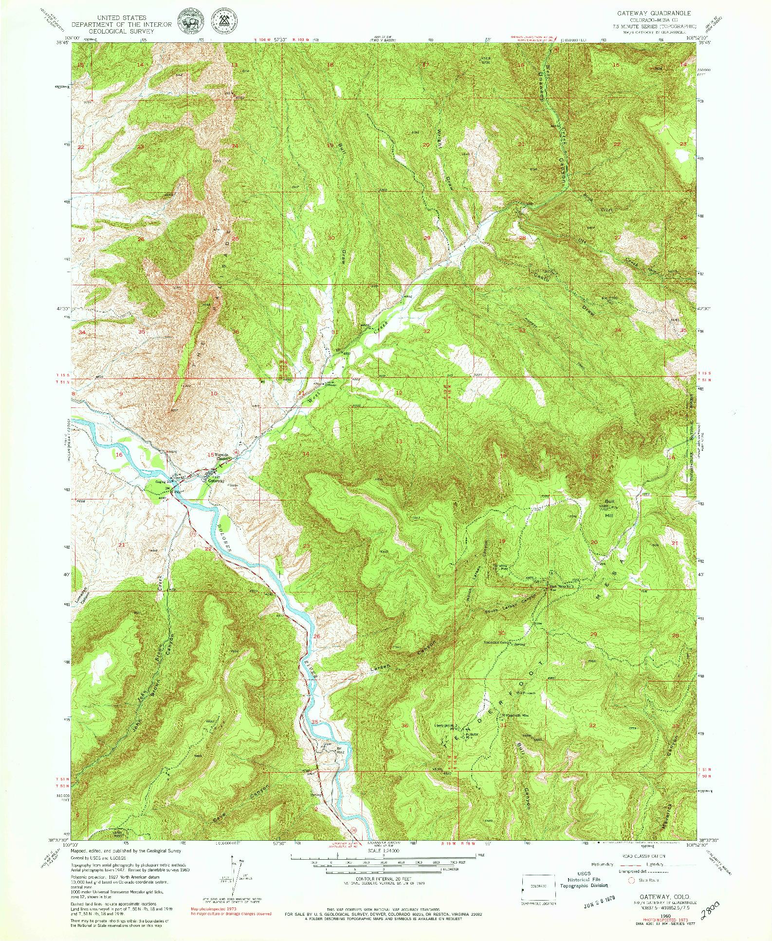 USGS 1:24000-SCALE QUADRANGLE FOR GATEWAY, CO 1960