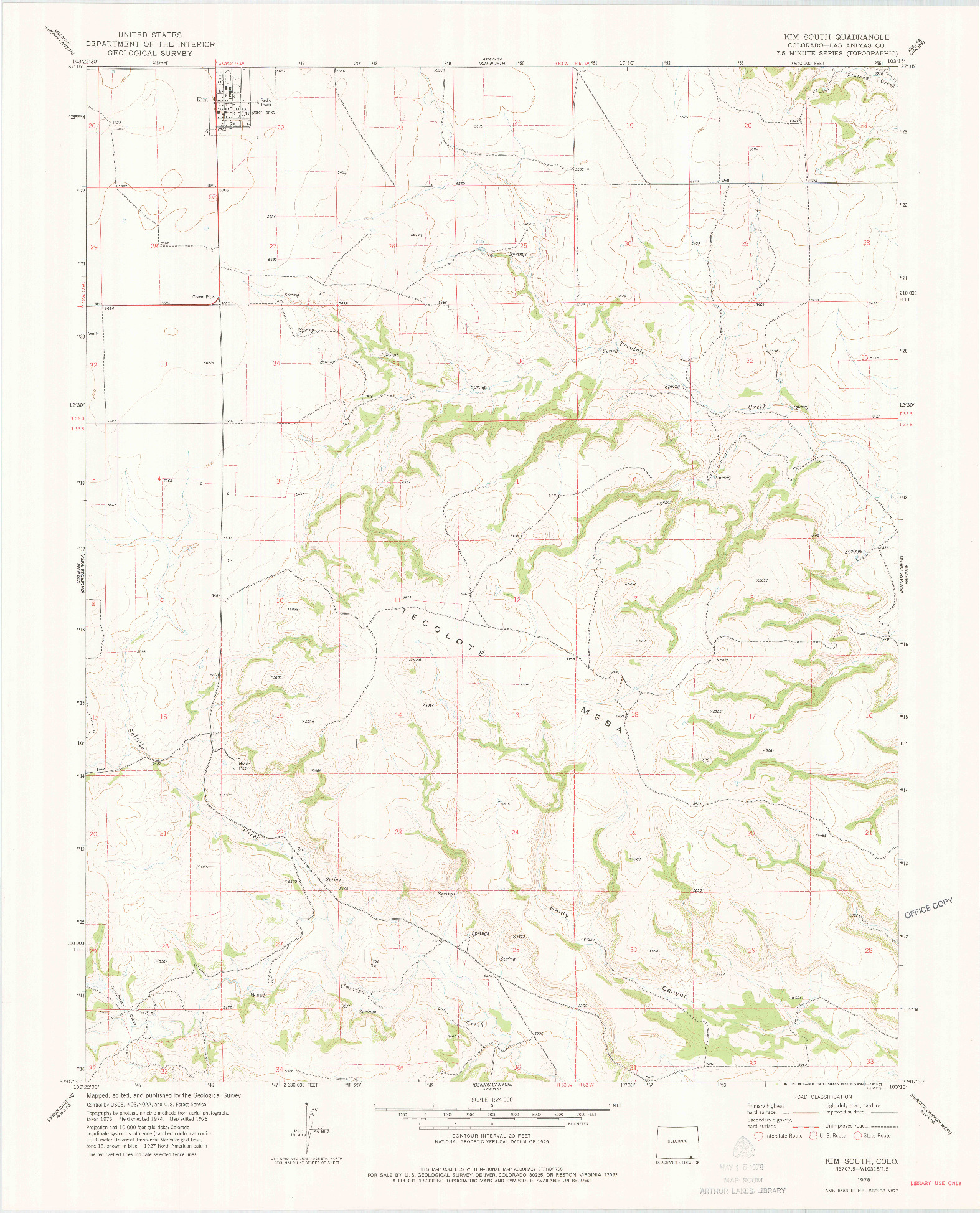 USGS 1:24000-SCALE QUADRANGLE FOR KIM SOUTH, CO 1978
