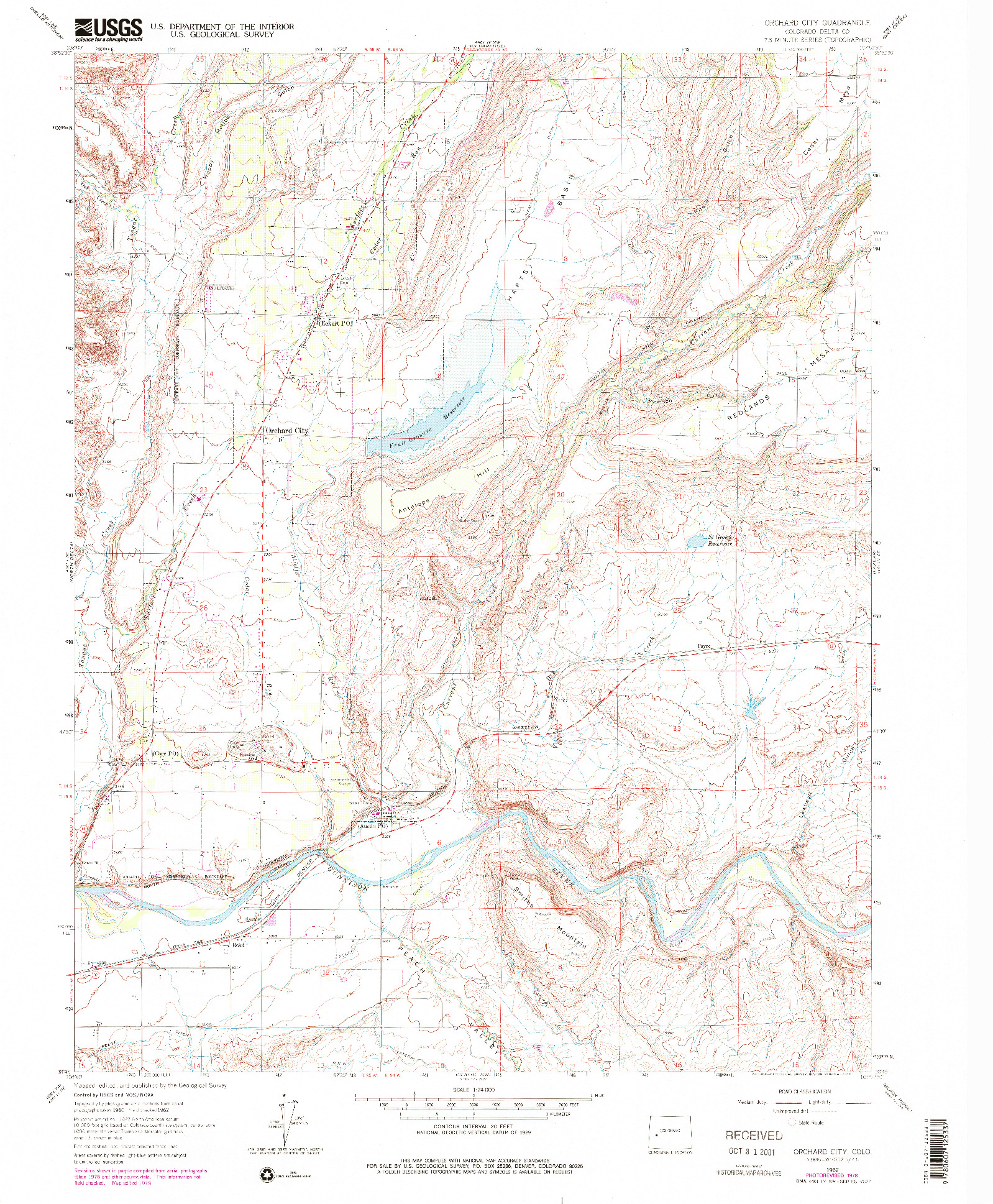 USGS 1:24000-SCALE QUADRANGLE FOR ORCHARD CITY, CO 1962