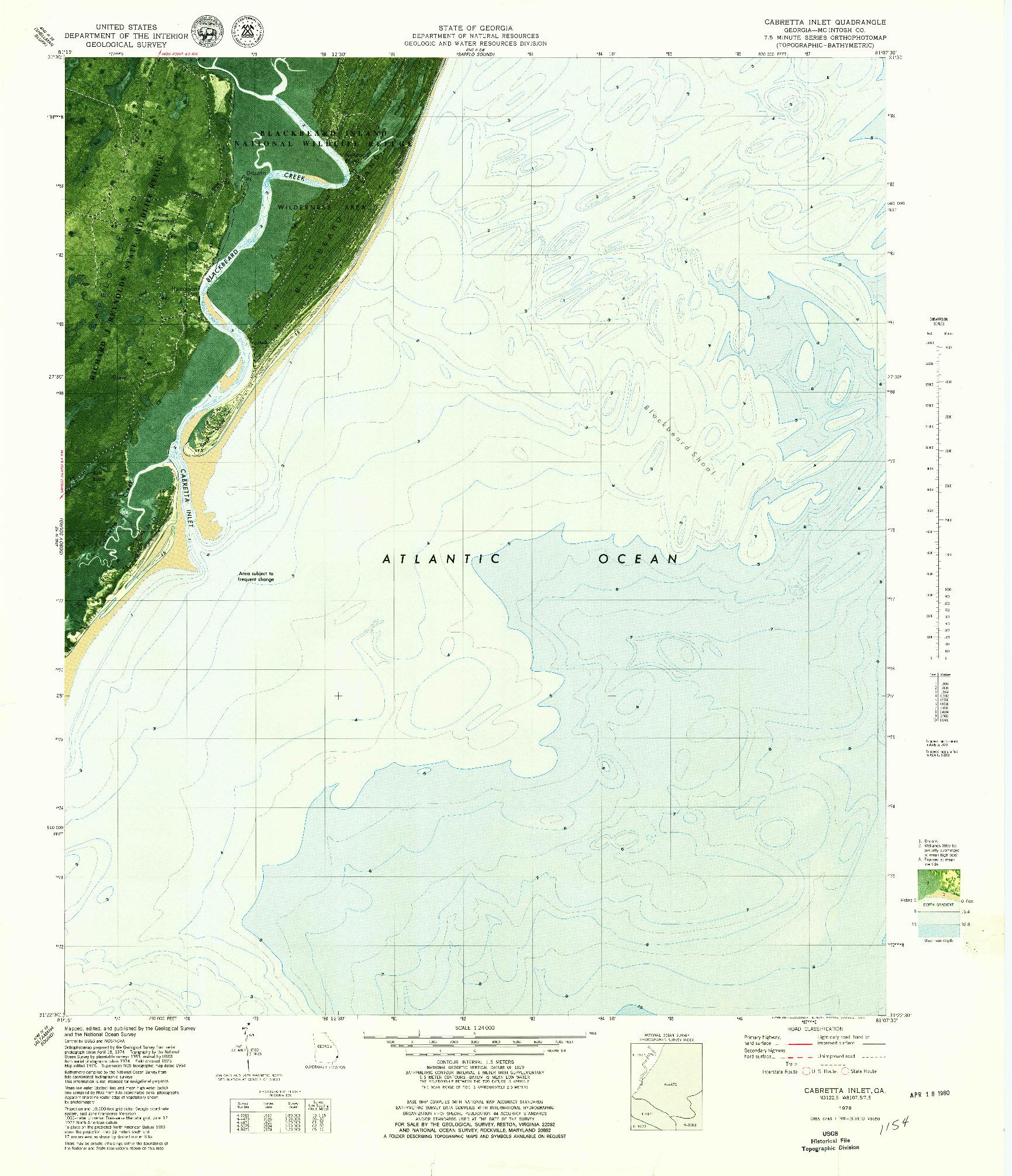 USGS 1:24000-SCALE QUADRANGLE FOR CABRETTA INLET, GA 1979