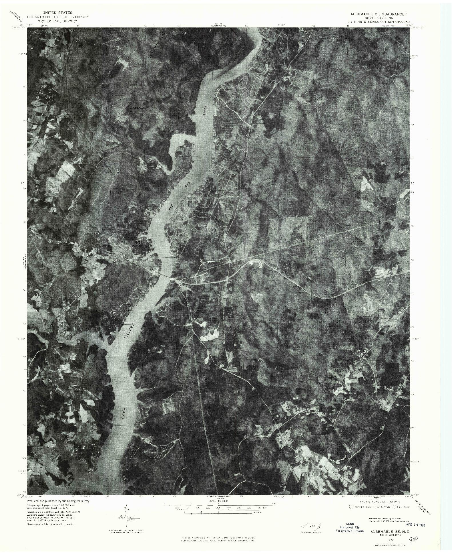 USGS 1:24000-SCALE QUADRANGLE FOR ALBEMARLE SE, NC 1977