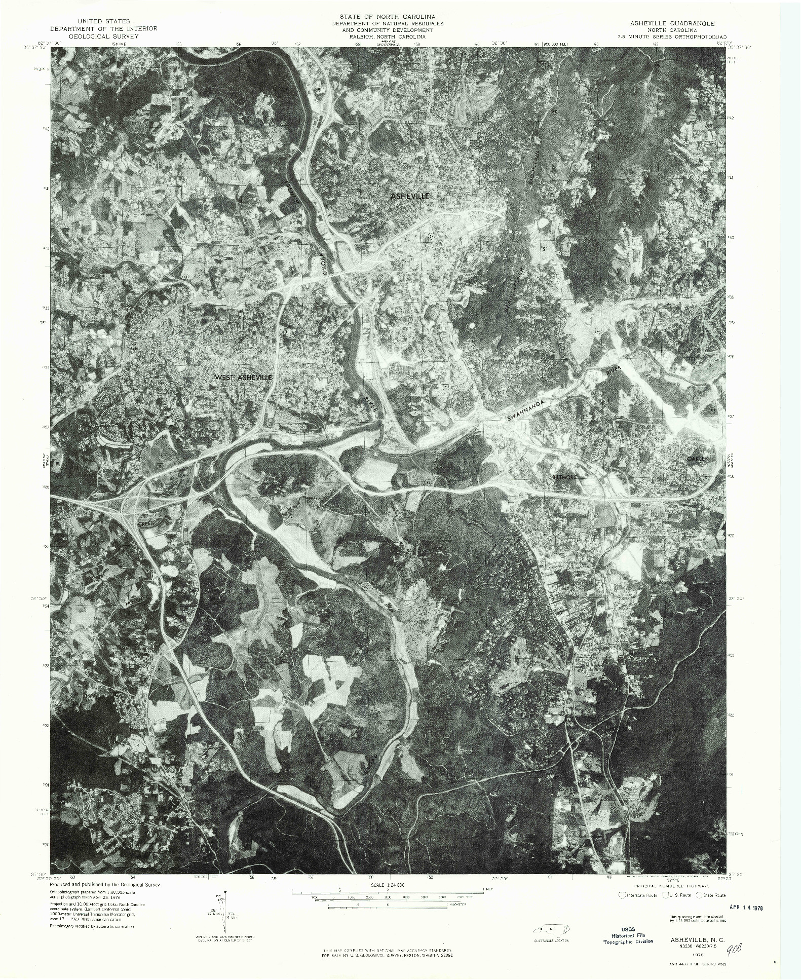 USGS 1:24000-SCALE QUADRANGLE FOR ASHEVILLE, NC 1976