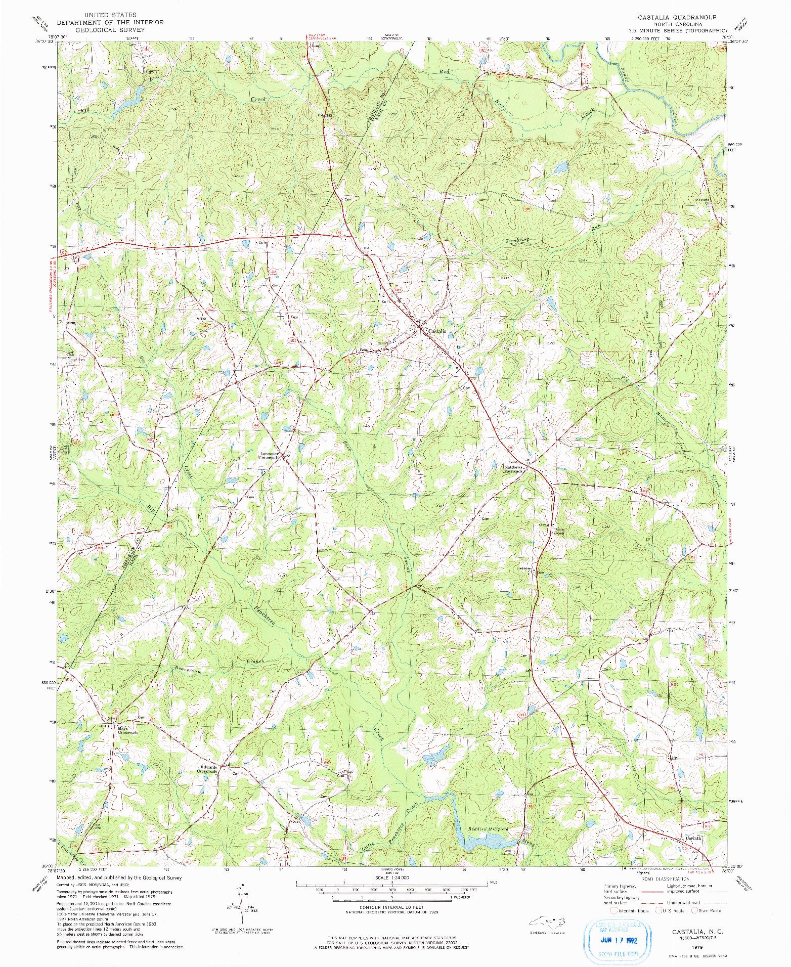 USGS 1:24000-SCALE QUADRANGLE FOR CASTALIA, NC 1979