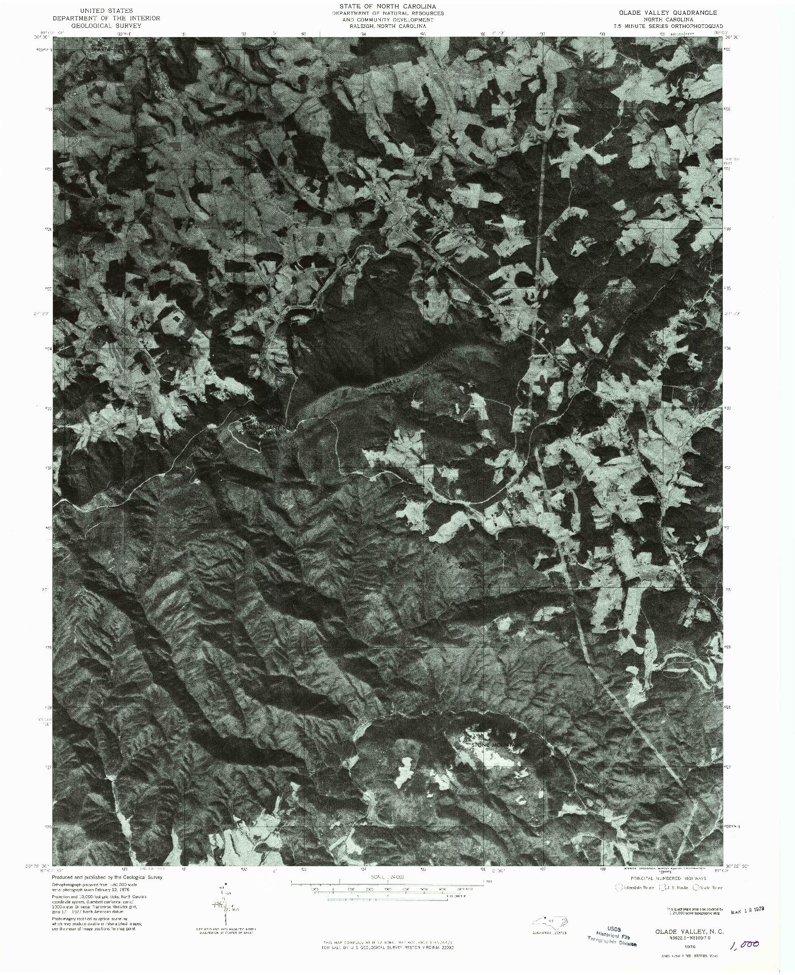 USGS 1:24000-SCALE QUADRANGLE FOR GLADE VALLEY, NC 1976
