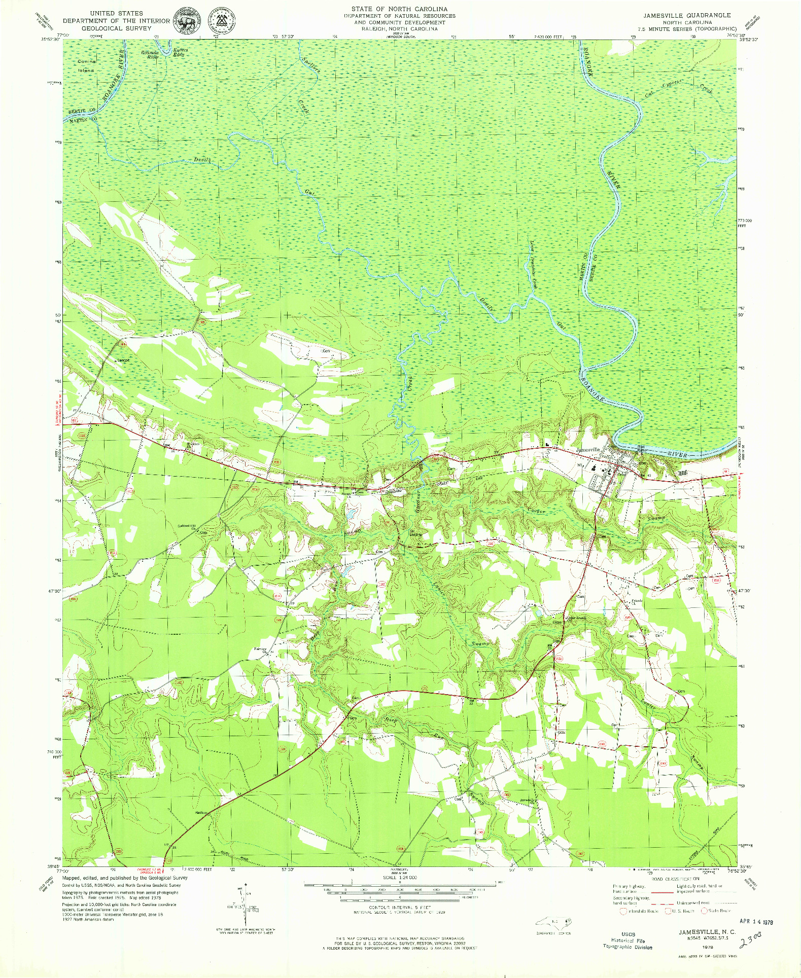 USGS 1:24000-SCALE QUADRANGLE FOR JAMESVILLE, NC 1978