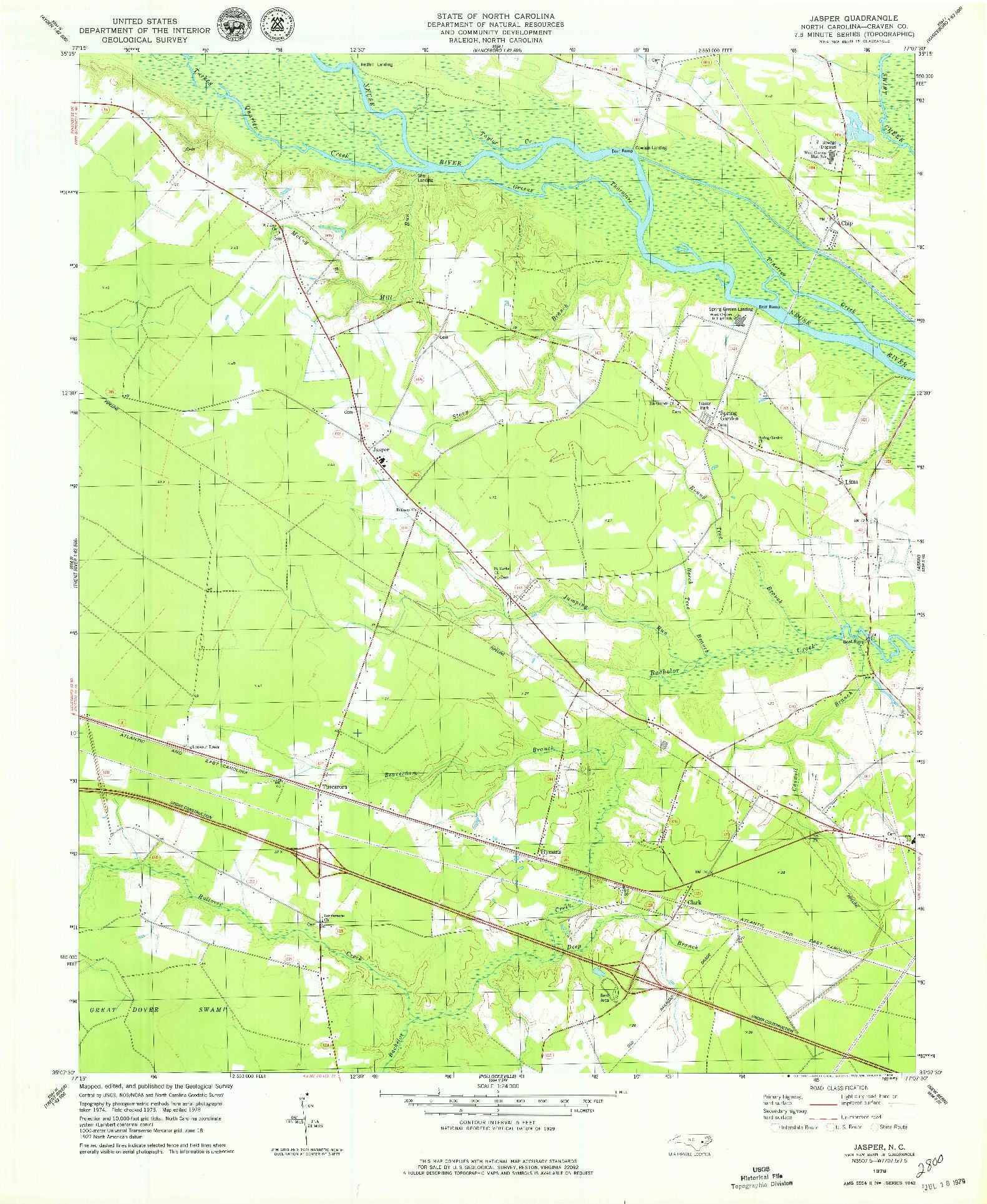 USGS 1:24000-SCALE QUADRANGLE FOR JASPER, NC 1978