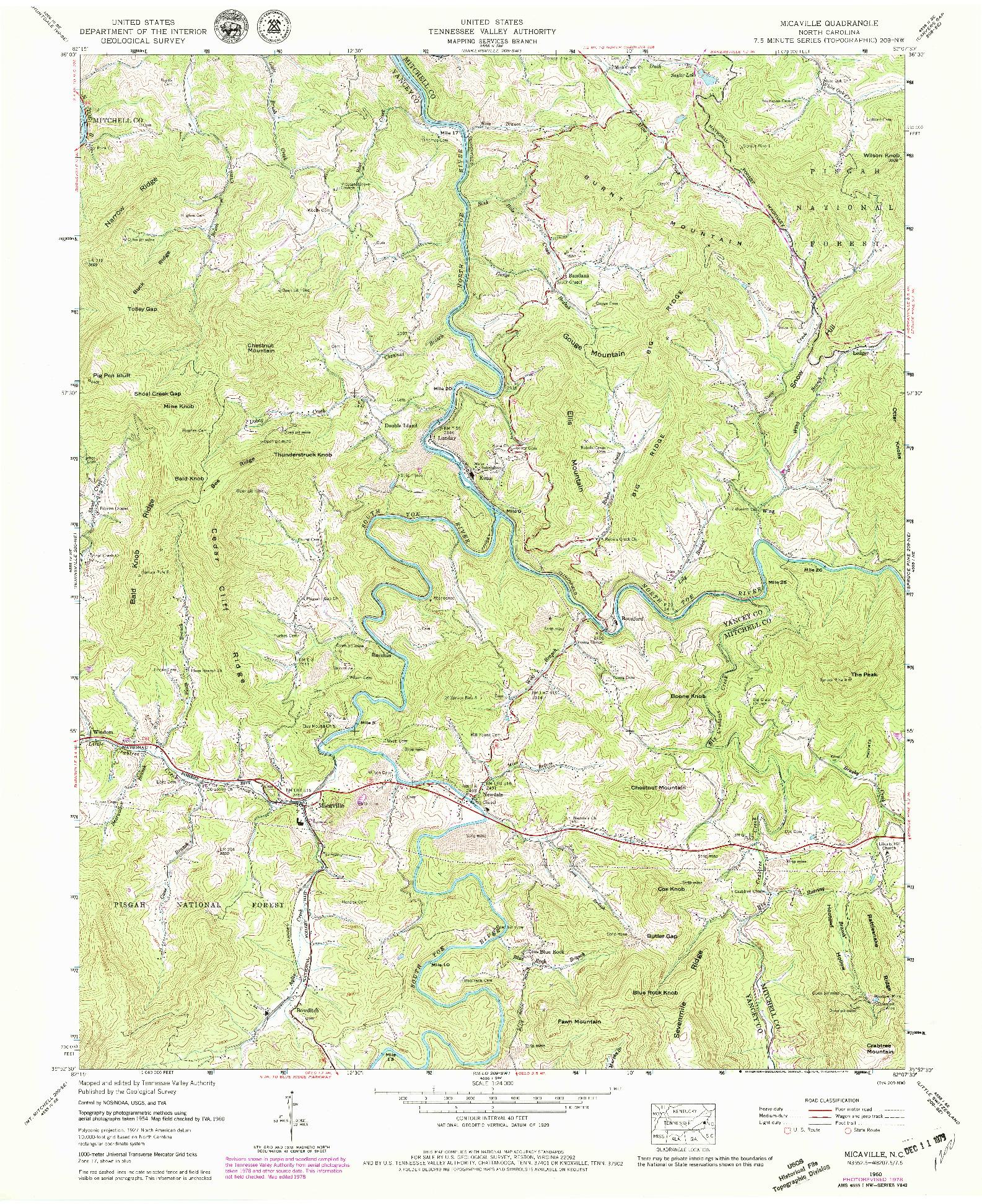 USGS 1:24000-SCALE QUADRANGLE FOR MICAVILLE, NC 1960