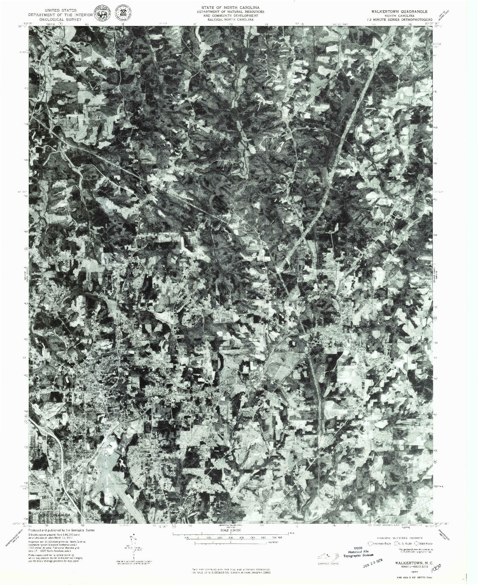 USGS 1:24000-SCALE QUADRANGLE FOR WALKERTOWN, NC 1977