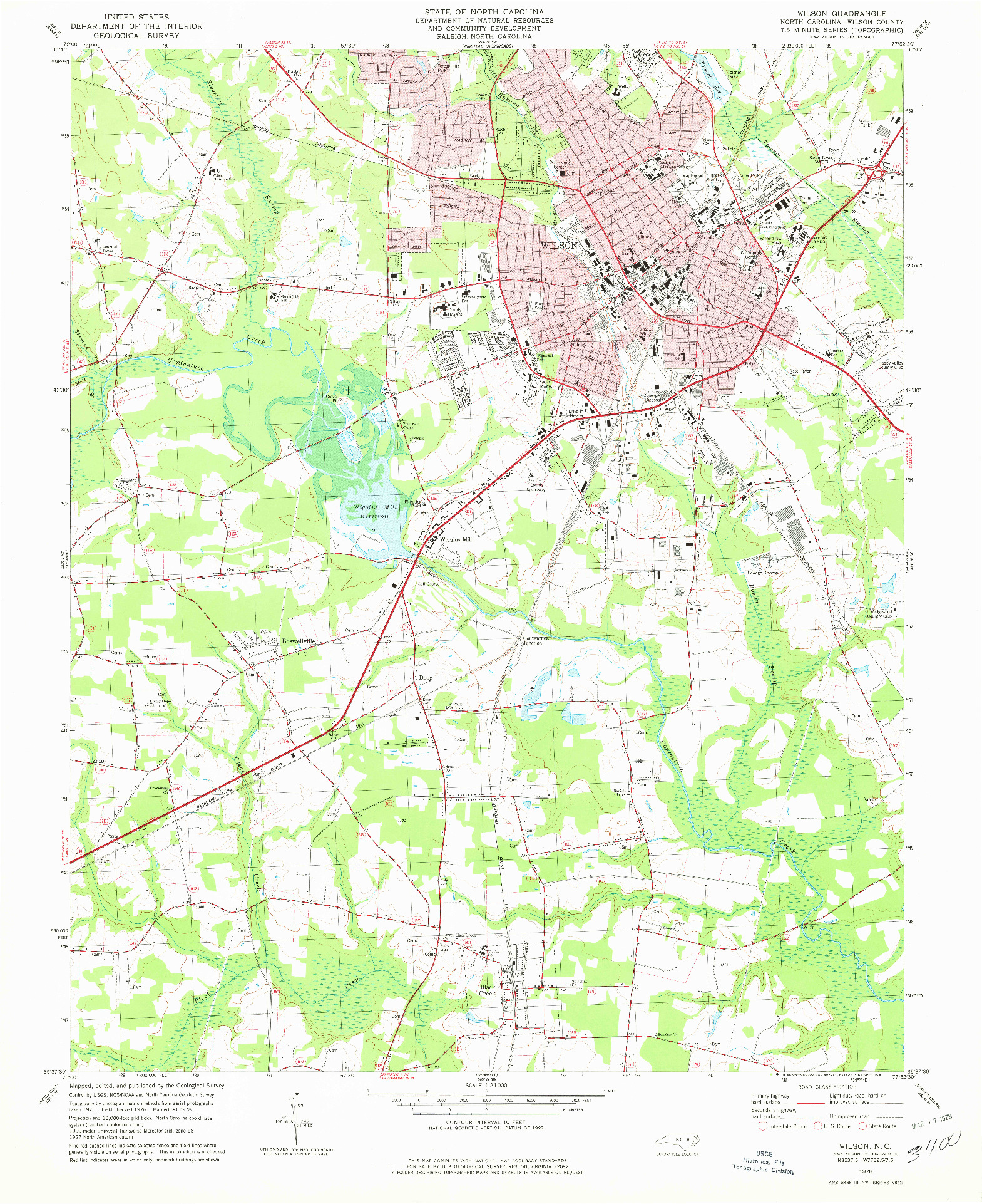 USGS 1:24000-SCALE QUADRANGLE FOR WILSON, NC 1978