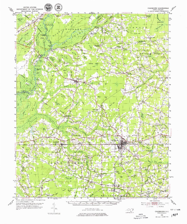 USGS 1:62500-SCALE QUADRANGLE FOR CHADBOURN, NC 1953
