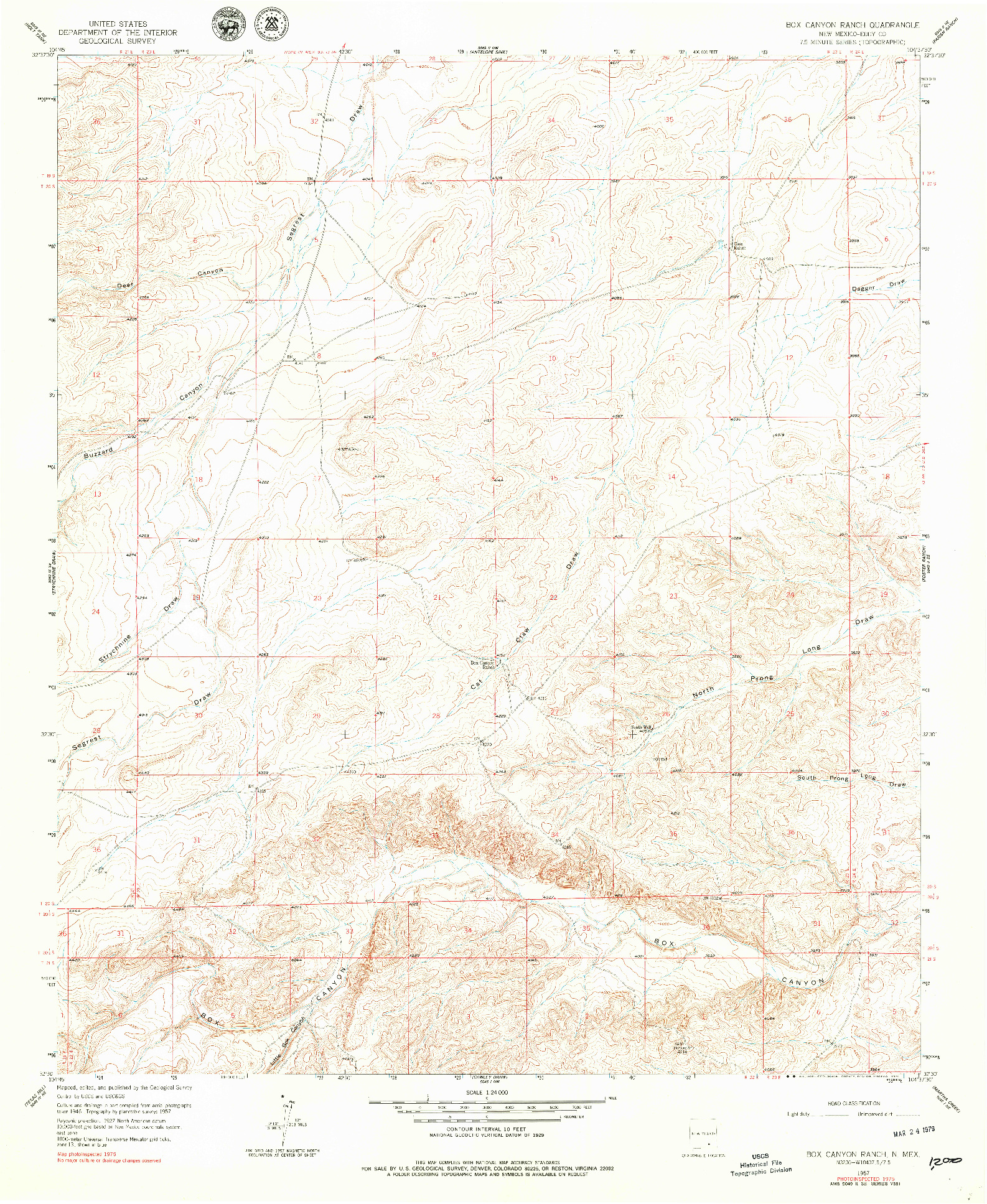 USGS 1:24000-SCALE QUADRANGLE FOR BOX CANYON RANCH, NM 1957