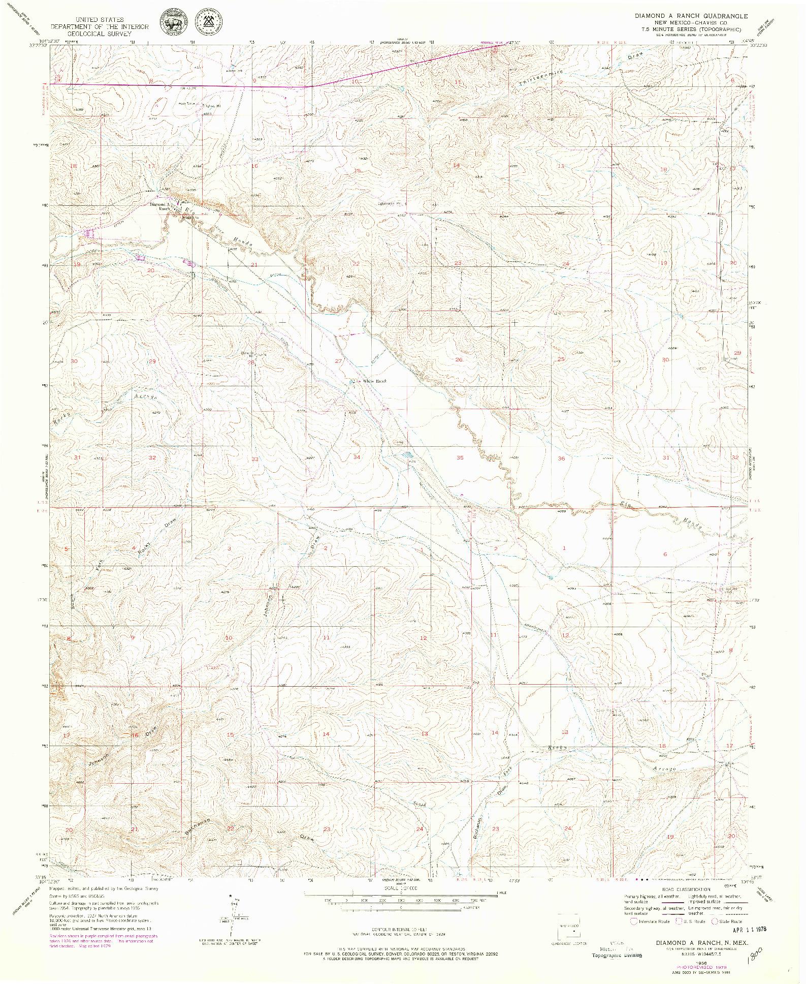 USGS 1:24000-SCALE QUADRANGLE FOR DIAMOND A RANCH, NM 1956