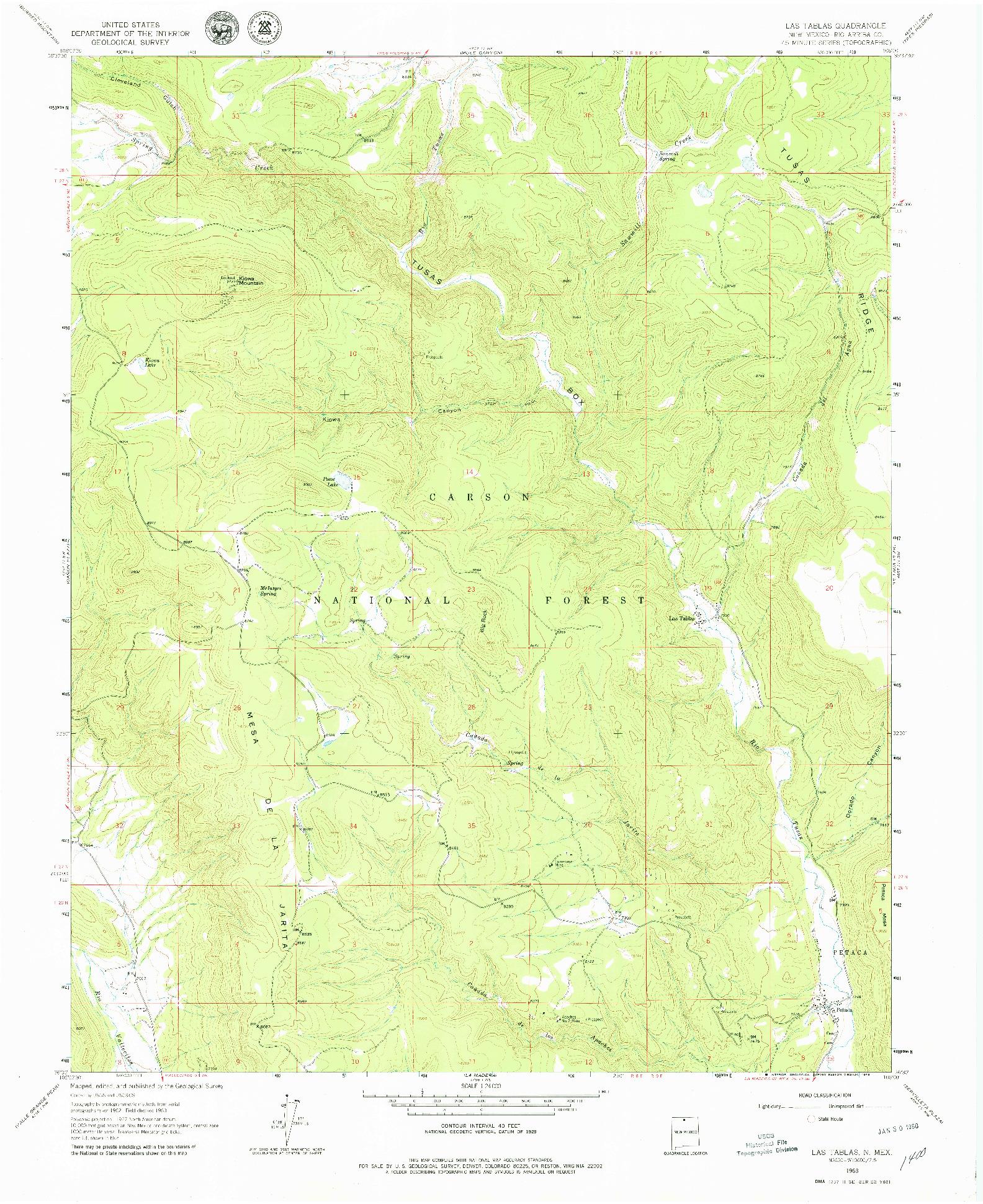 USGS 1:24000-SCALE QUADRANGLE FOR LAS TABLAS, NM 1963