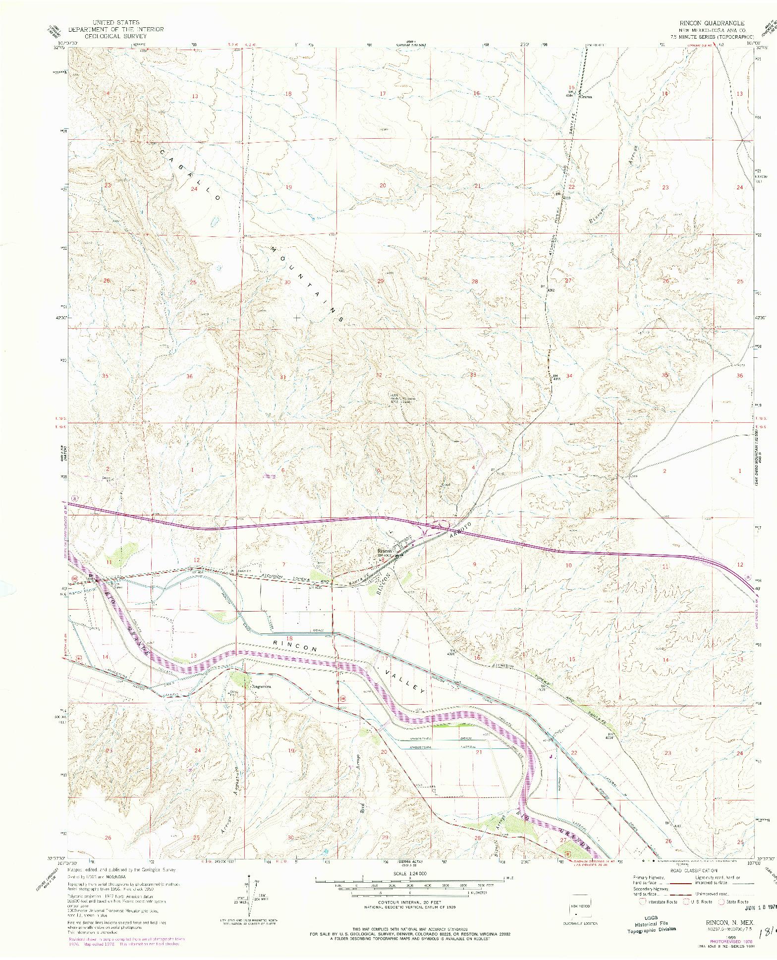 USGS 1:24000-SCALE QUADRANGLE FOR RINCON, NM 1959