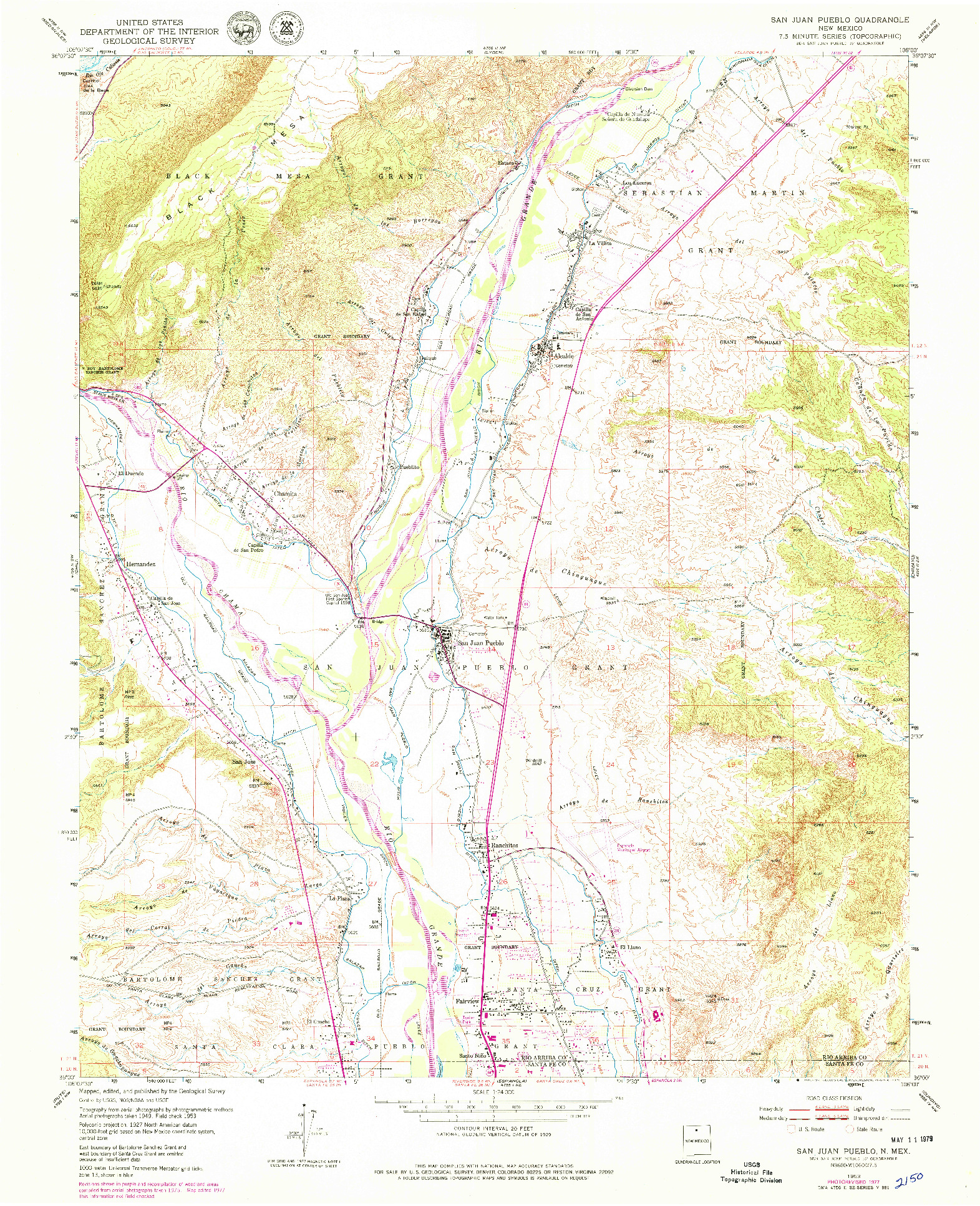 USGS 1:24000-SCALE QUADRANGLE FOR SAN JUAN PUEBLO, NM 1953