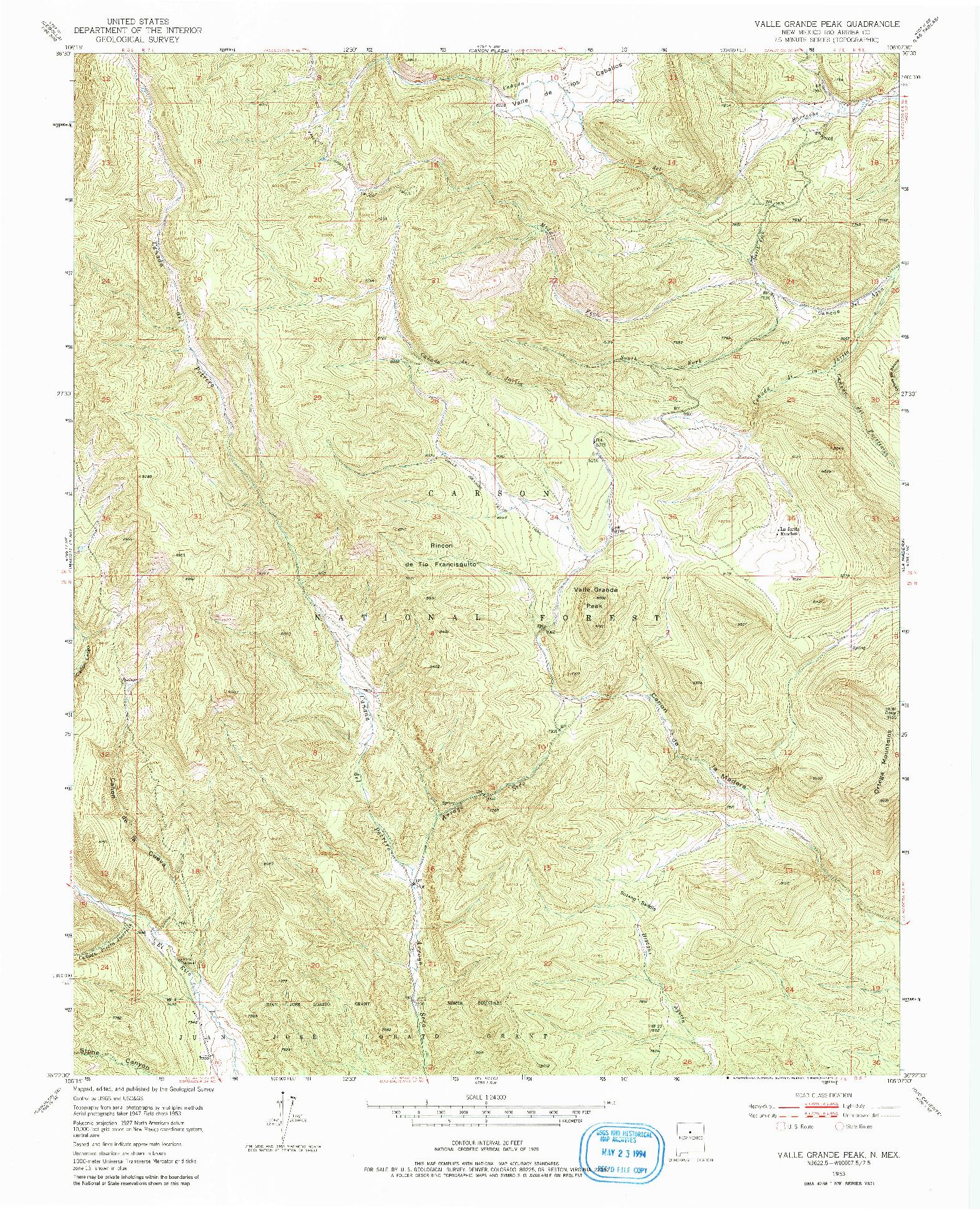 USGS 1:24000-SCALE QUADRANGLE FOR VALLE GRANDE PEAK, NM 1953