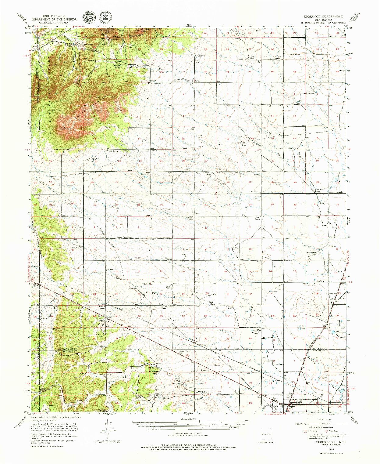 USGS 1:62500-SCALE QUADRANGLE FOR EDGEWOOD, NM 1956