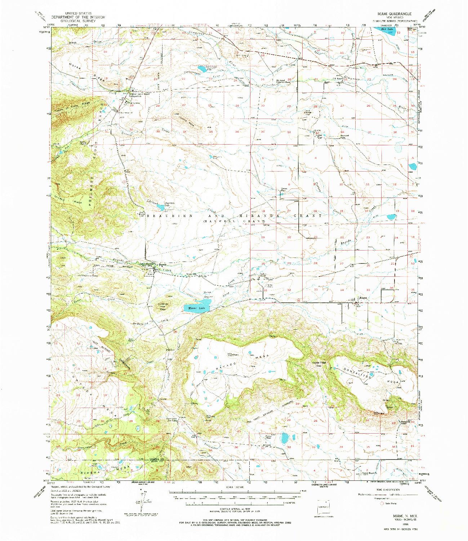 USGS 1:62500-SCALE QUADRANGLE FOR MIAMI, NM 1956