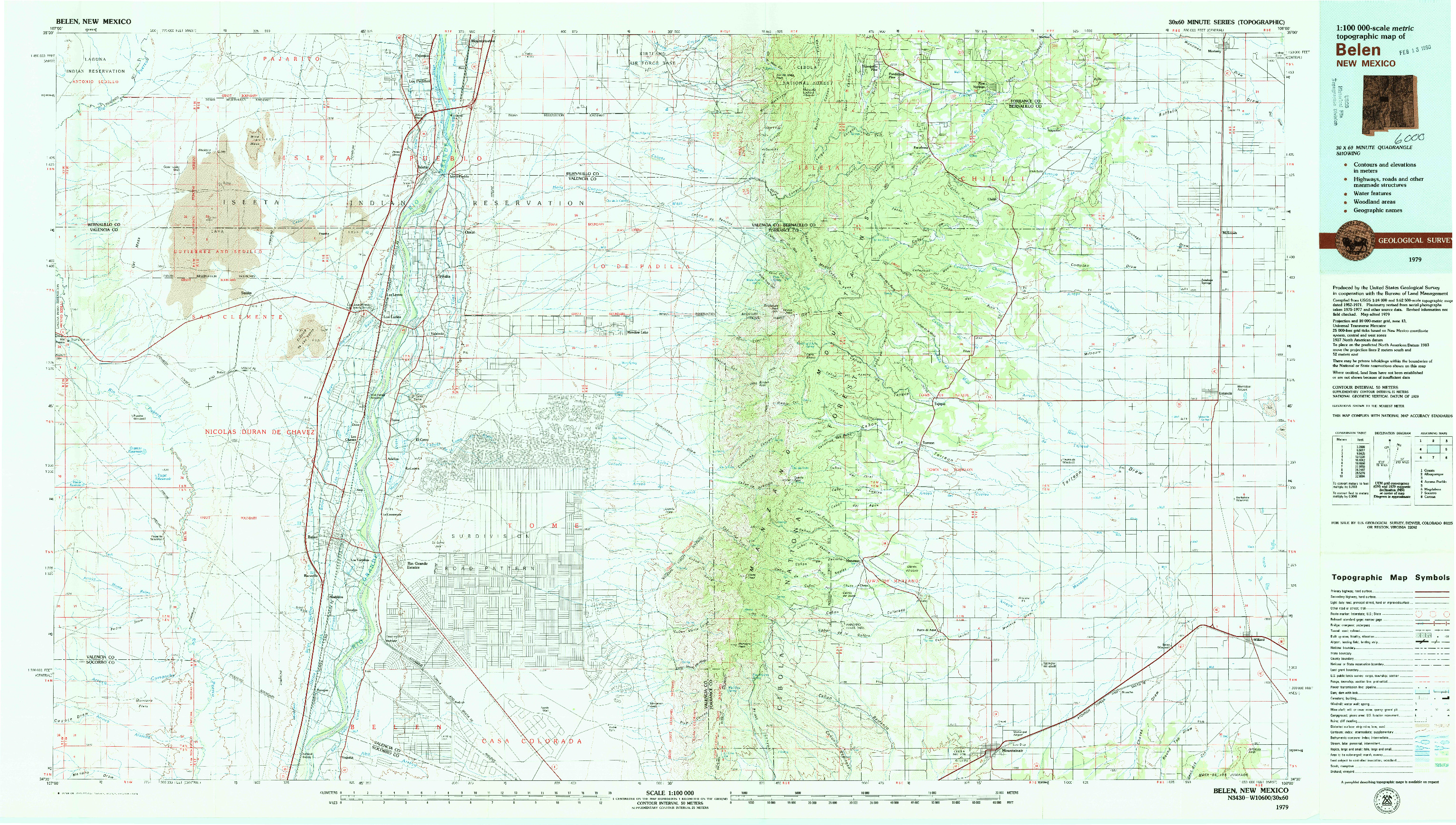 USGS 1:100000-SCALE QUADRANGLE FOR BELEN, NM 1979