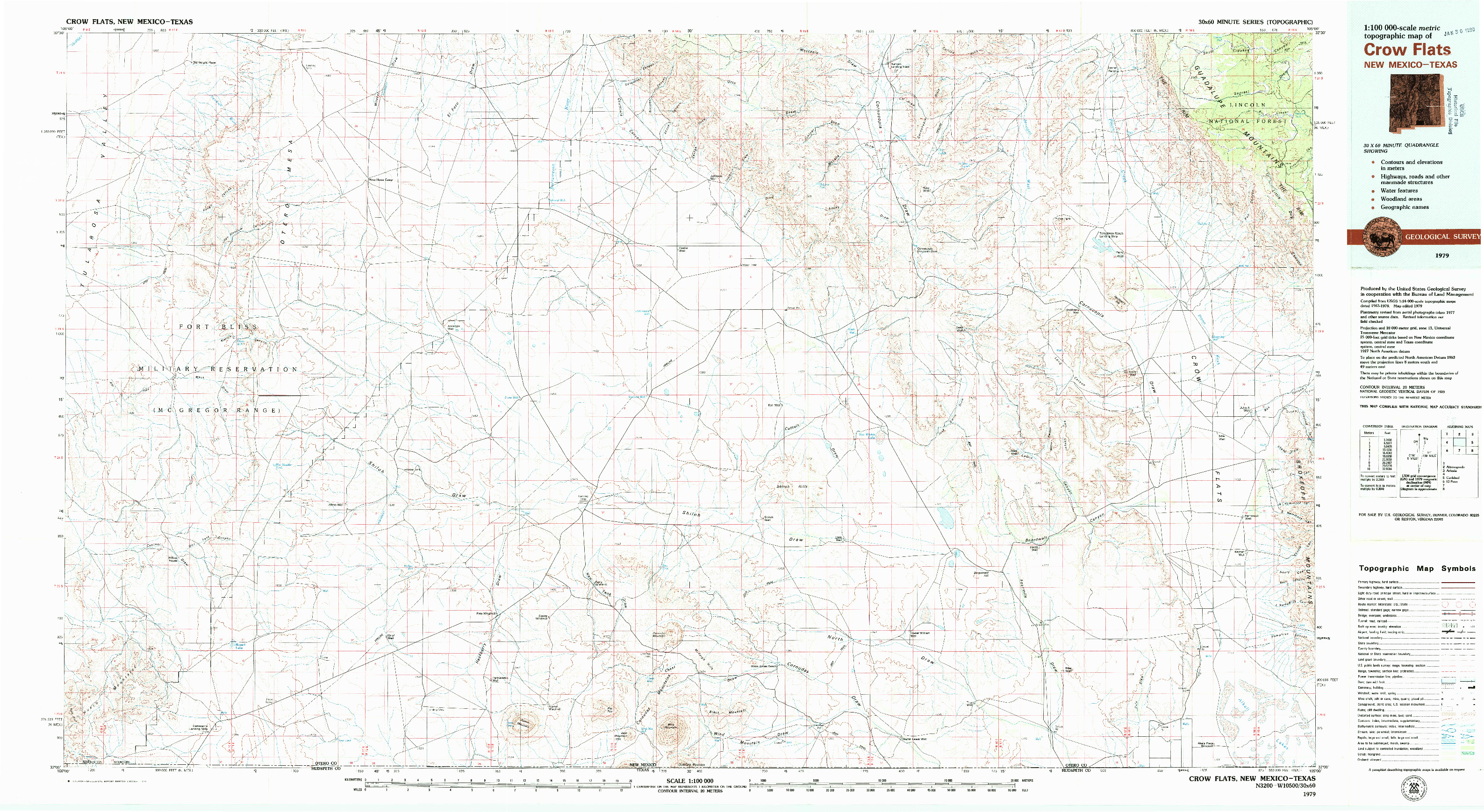 USGS 1:100000-SCALE QUADRANGLE FOR CROW FLATS, NM 1979