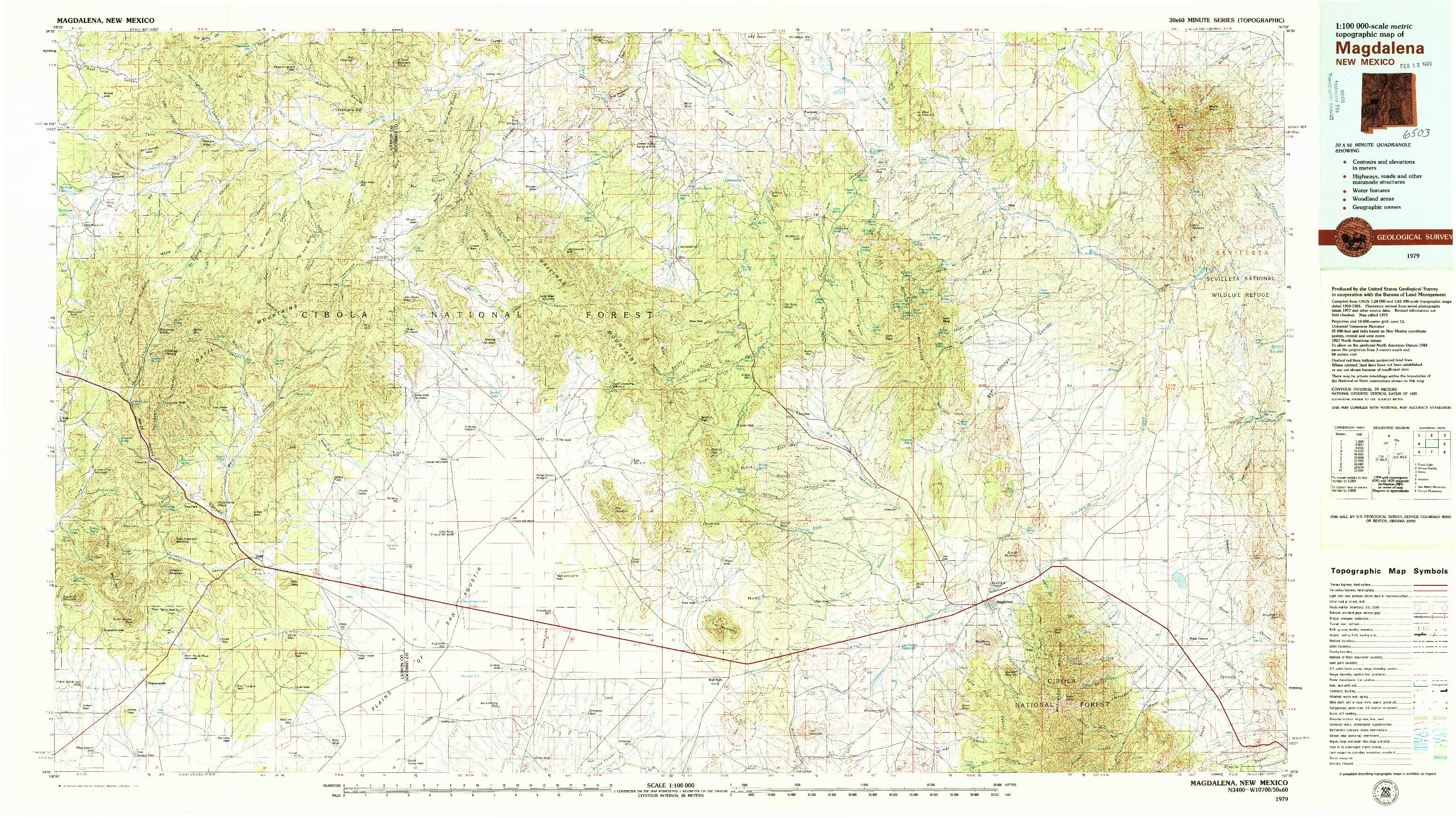 USGS 1:100000-SCALE QUADRANGLE FOR MAGDALENA, NM 1979