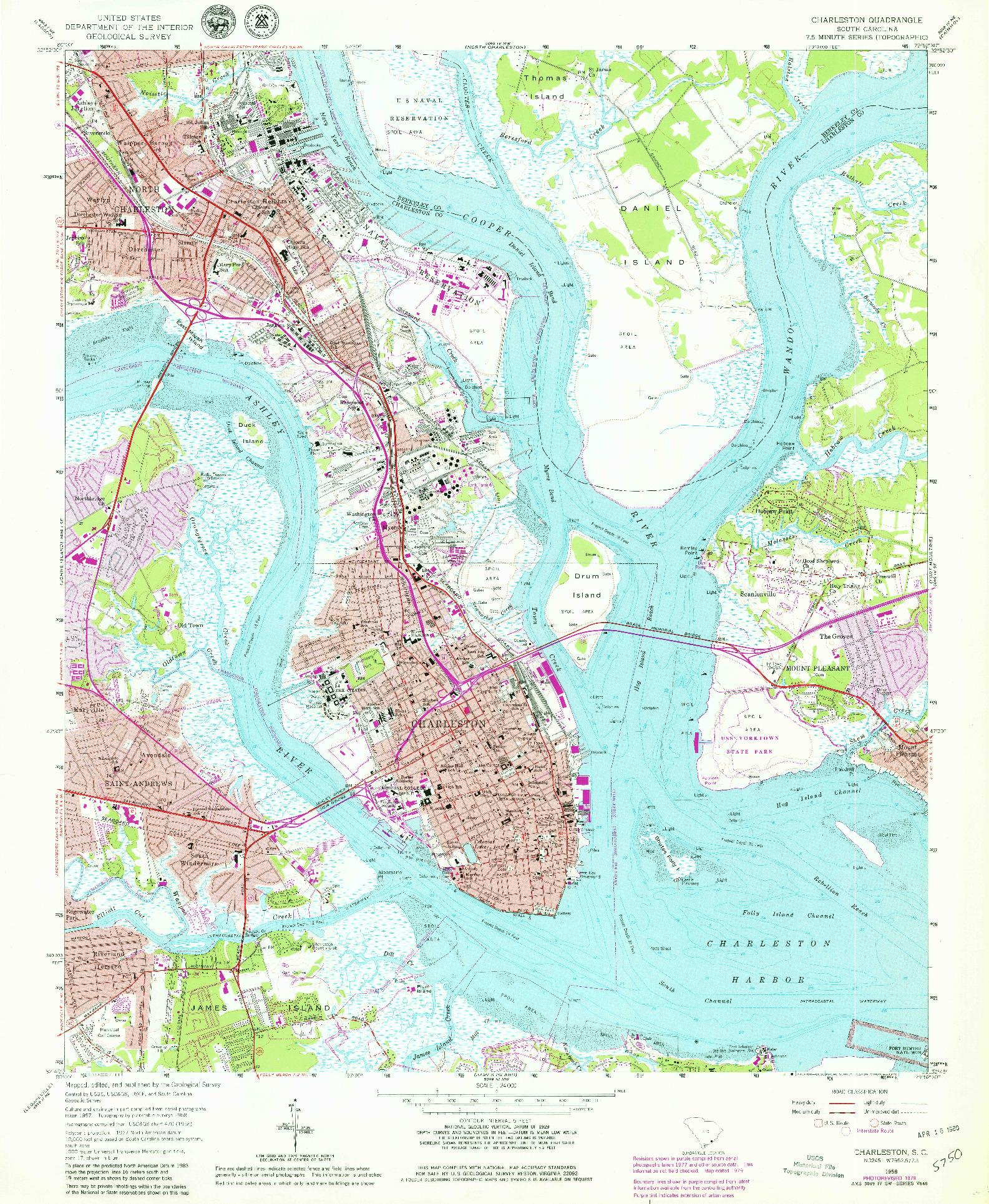 USGS 1:24000-SCALE QUADRANGLE FOR CHARLESTON, SC 1958