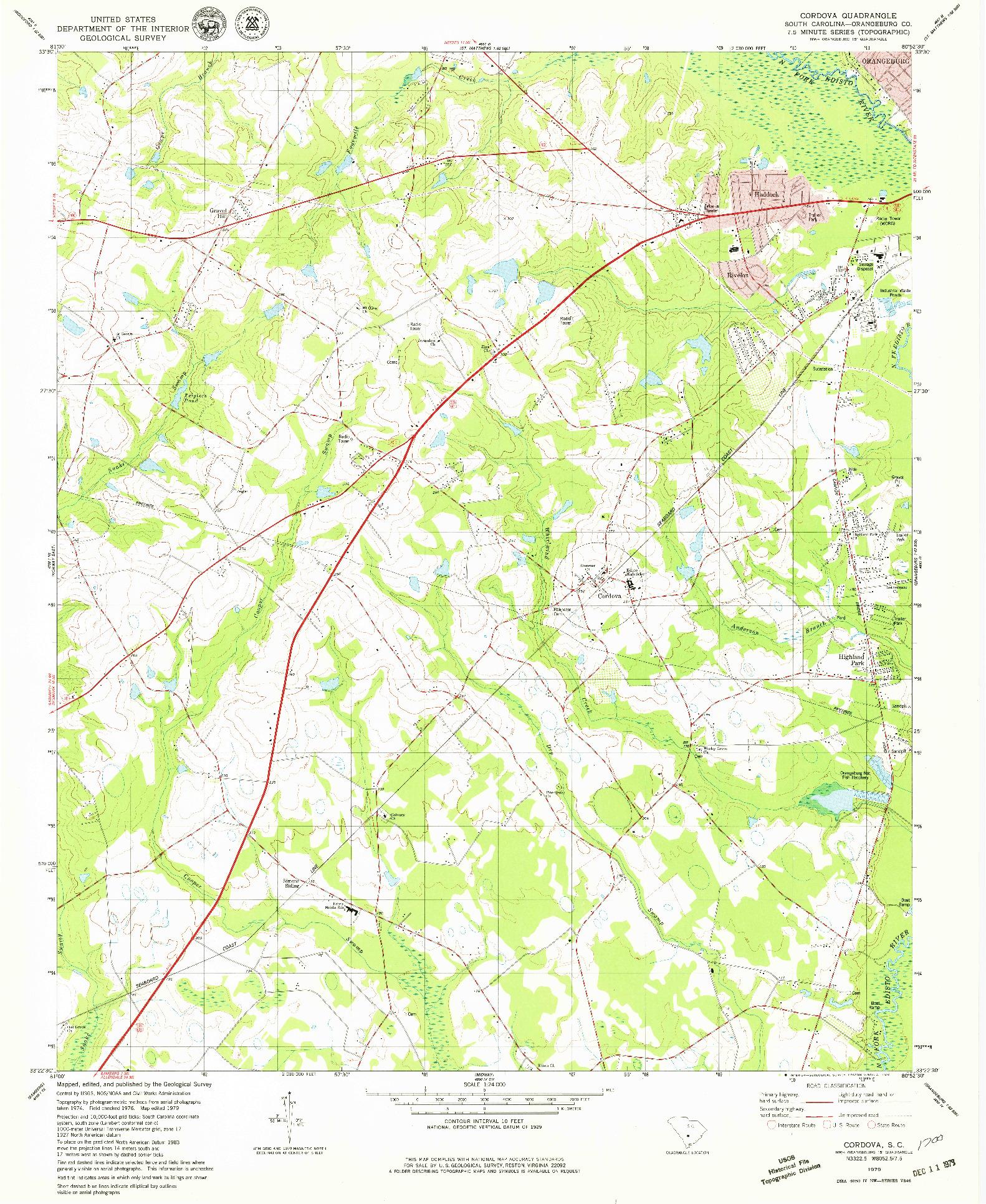 USGS 1:24000-SCALE QUADRANGLE FOR CORDOVA, SC 1979