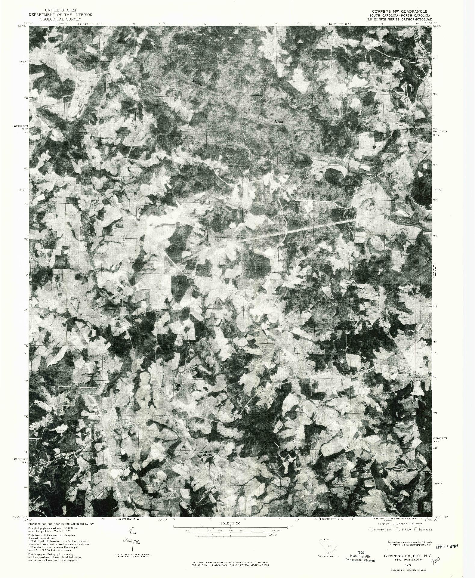USGS 1:24000-SCALE QUADRANGLE FOR COWPENS NW, SC 1975