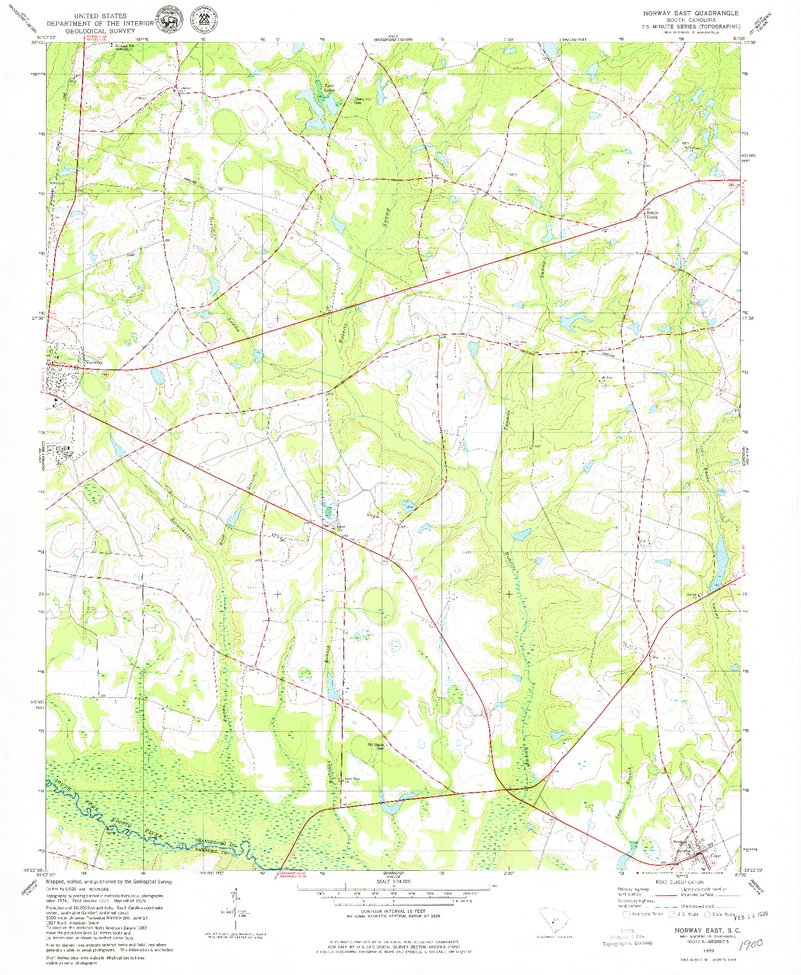 USGS 1:24000-SCALE QUADRANGLE FOR NORWAY EAST, SC 1979