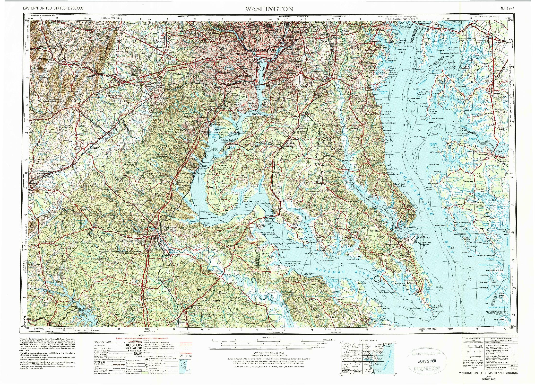 USGS 1:250000-SCALE QUADRANGLE FOR WASHINGTON, DC 1957