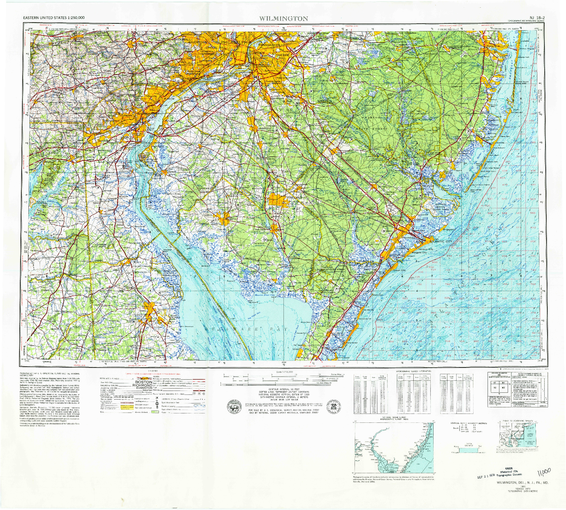 USGS 1:250000-SCALE QUADRANGLE FOR WILMINGTON, DE 1966